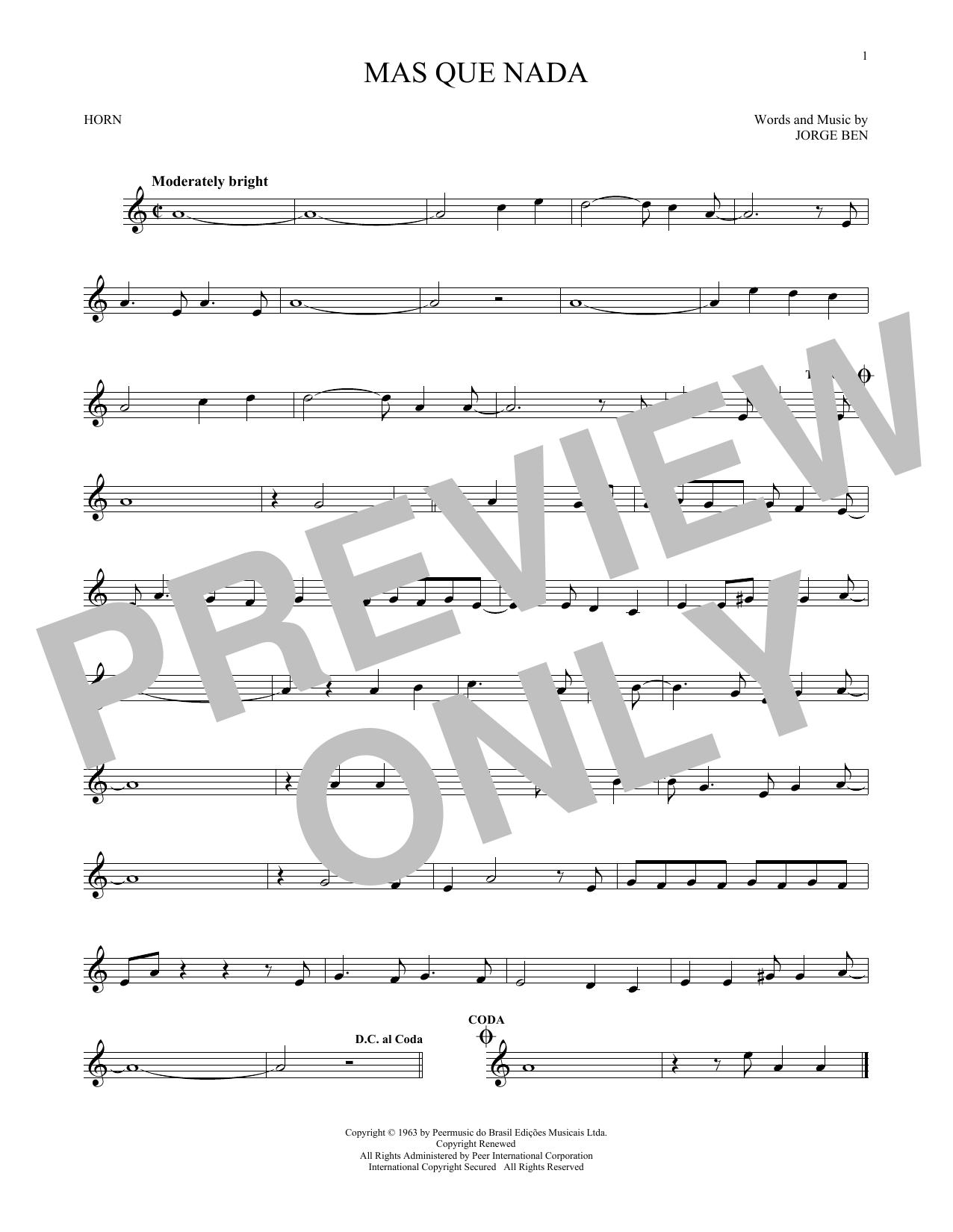Mas Que Nada (French Horn Solo)