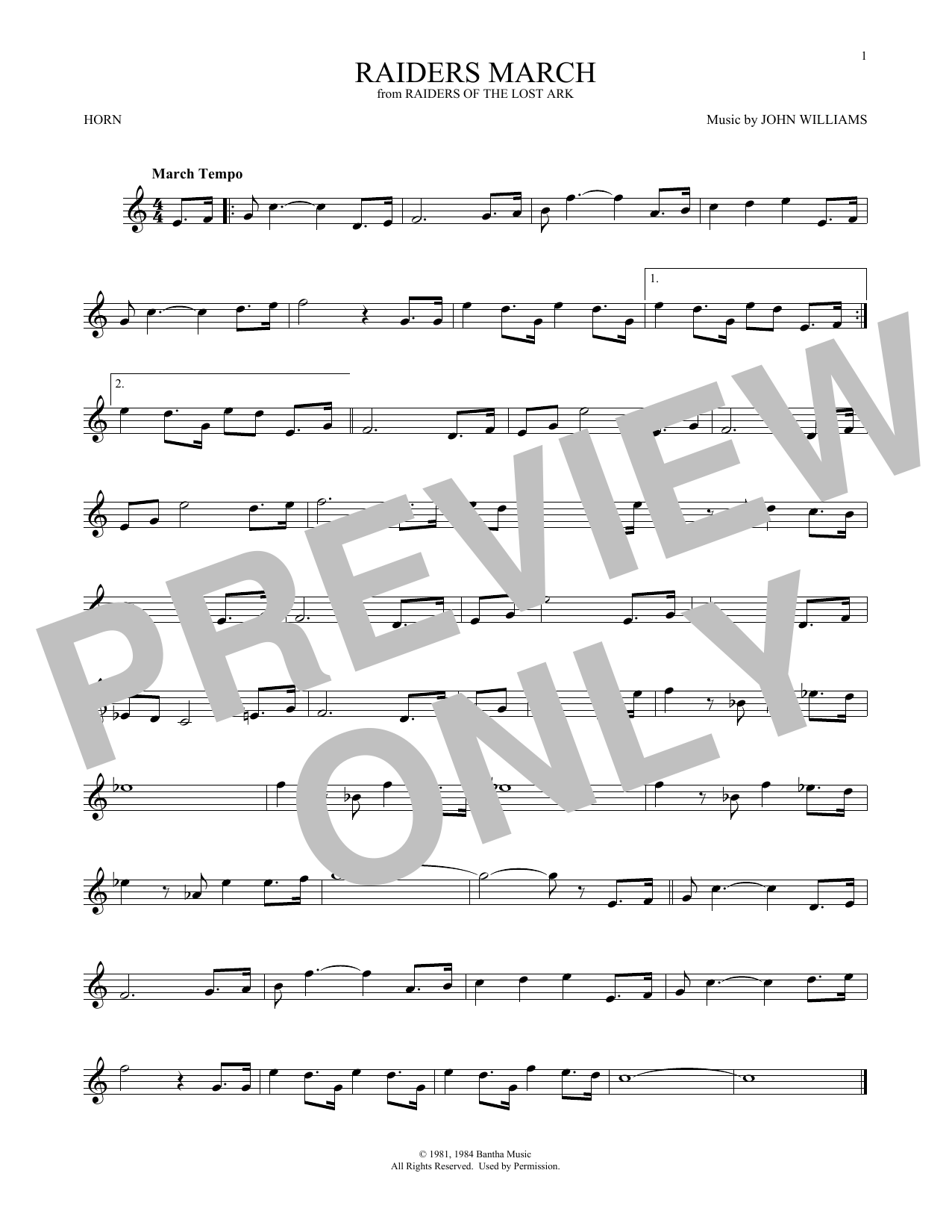 Raiders March (from Raiders Of The Lost Ark) (French Horn Solo)