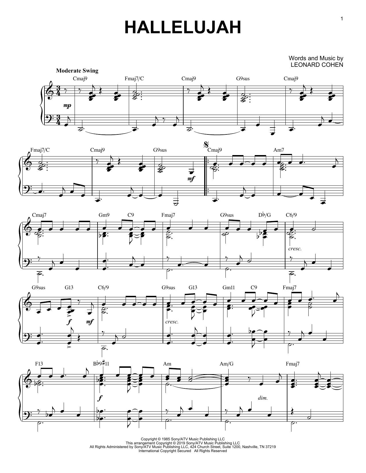 Hallelujah [Jazz version] (Piano Solo)