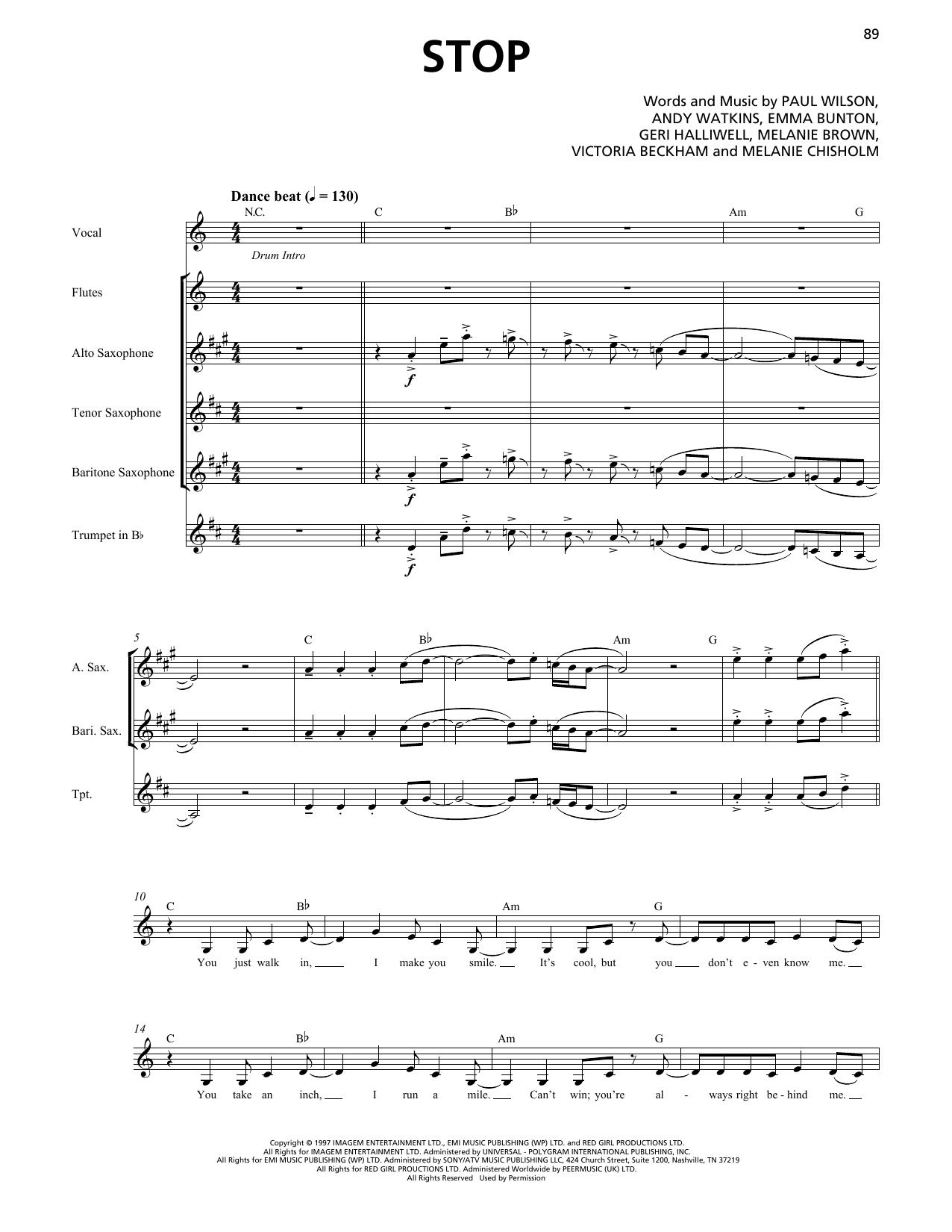 Stop (Horn Section) Sheet Music