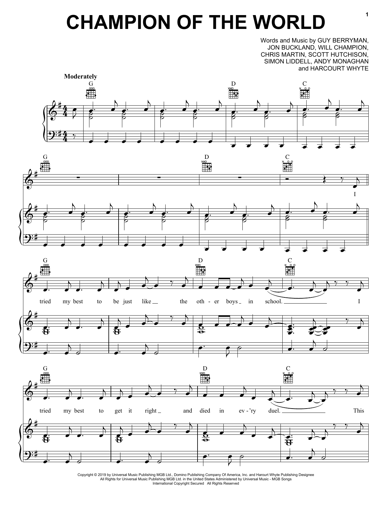 Champion Of The World (Piano, Vocal & Guitar (Right-Hand Melody))