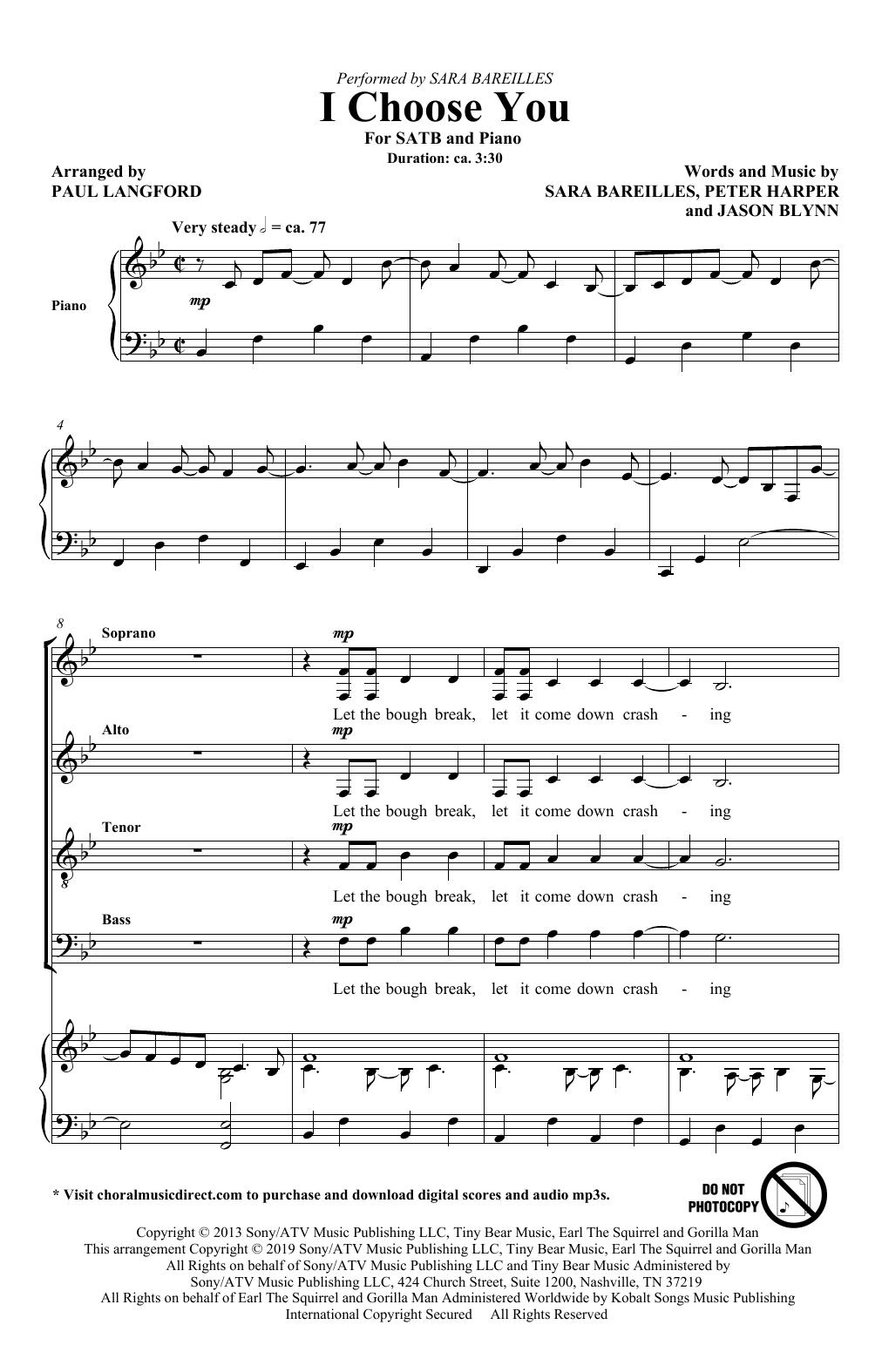 I Choose You (arr. Paul Langford) (SATB Choir)