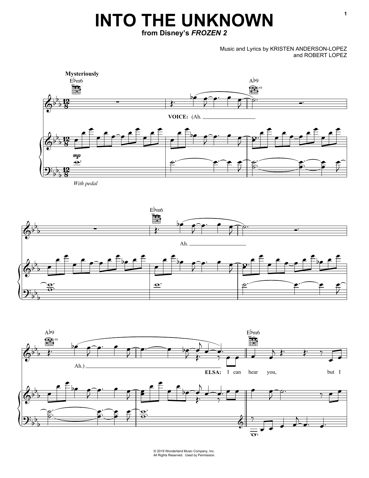 Into The Unknown (from Disney's Frozen 2) (Piano, Vocal & Guitar (Right-Hand Melody))