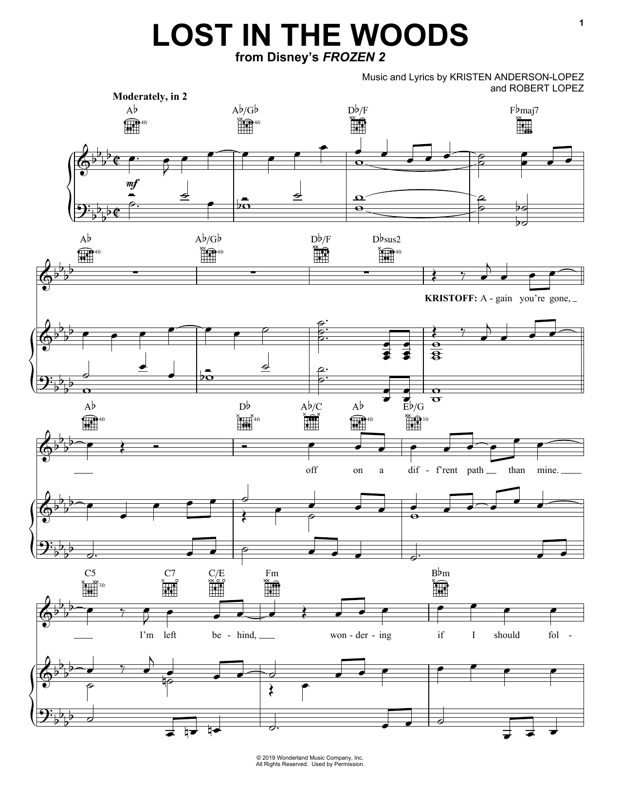 Lost In The Woods (from Disney's Frozen 2) (Piano, Vocal & Guitar (Right-Hand Melody))