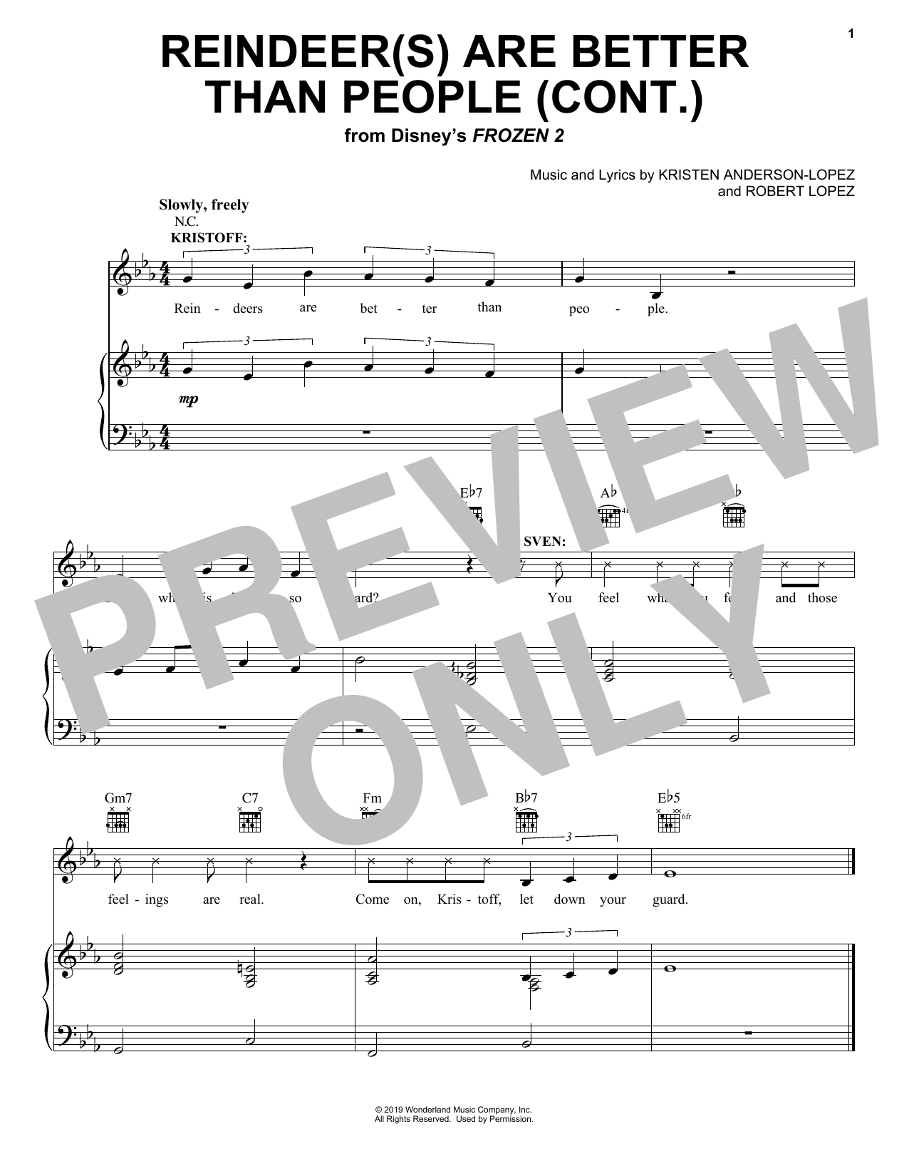 Reindeer(s) Are Better Than People (Cont.) (from Disney's Frozen 2) (Piano, Vocal & Guitar (Right-Hand Melody))