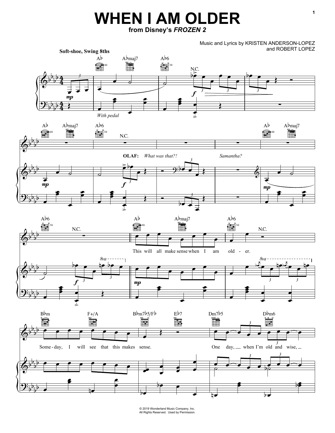 When I Am Older (from Disney's Frozen 2) (Piano, Vocal & Guitar (Right-Hand Melody))