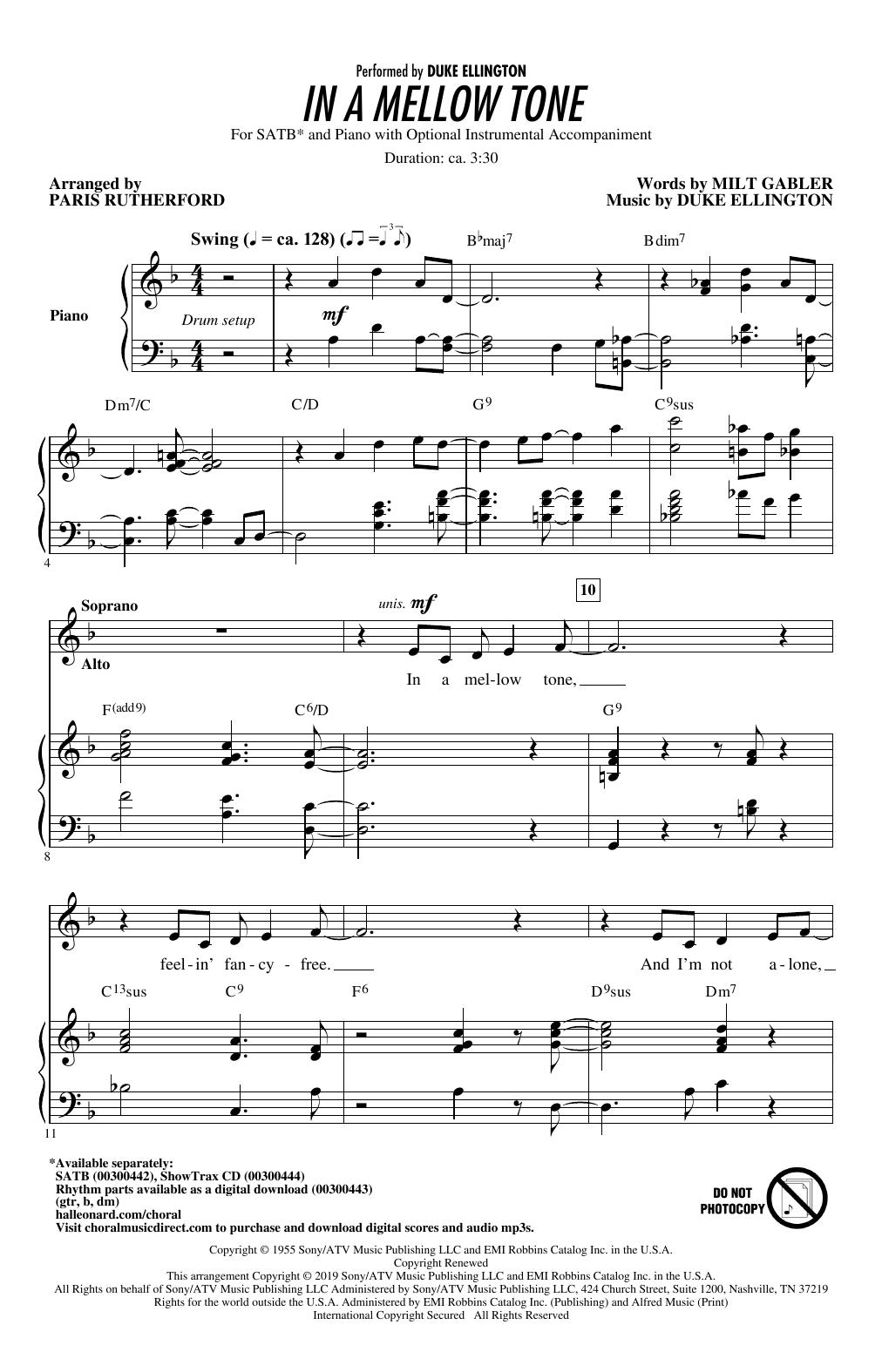 In A Mellow Tone (arr. Paris Rutherford) (SATB Choir)