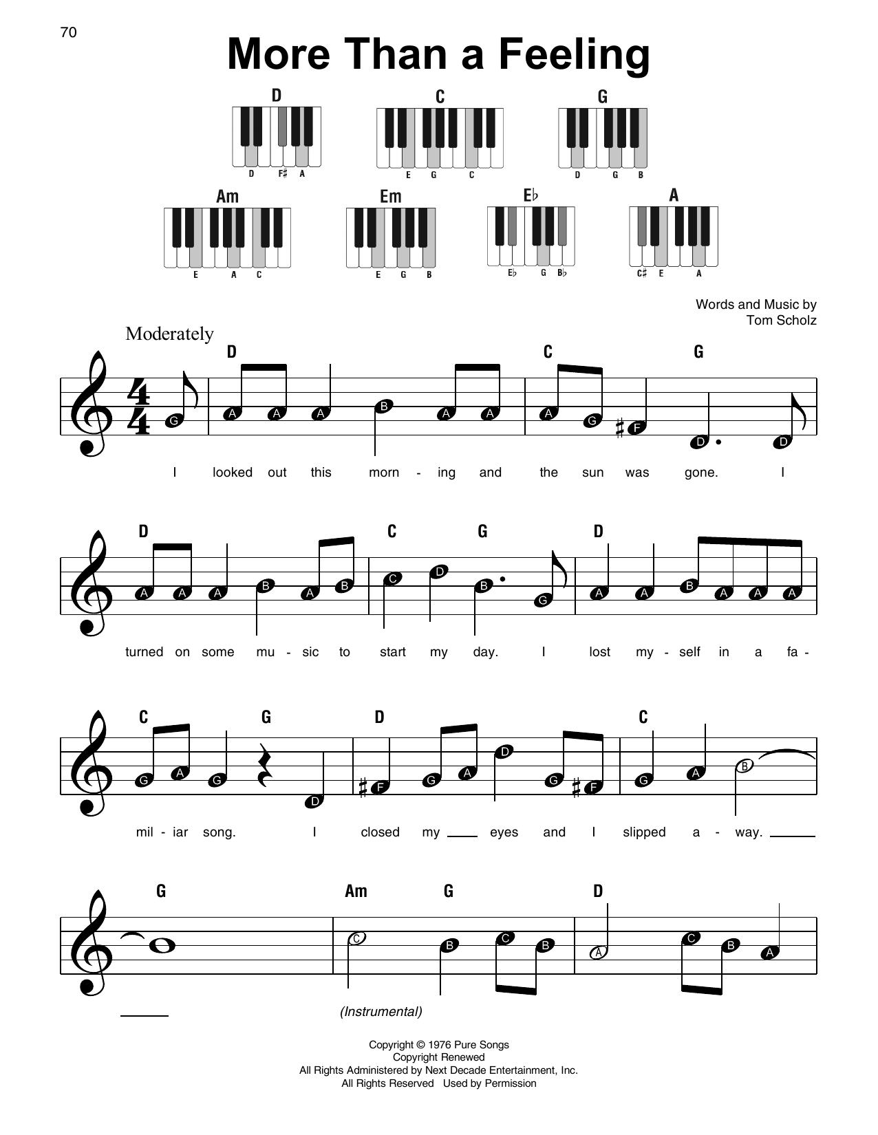More Than A Feeling (Super Easy Piano)