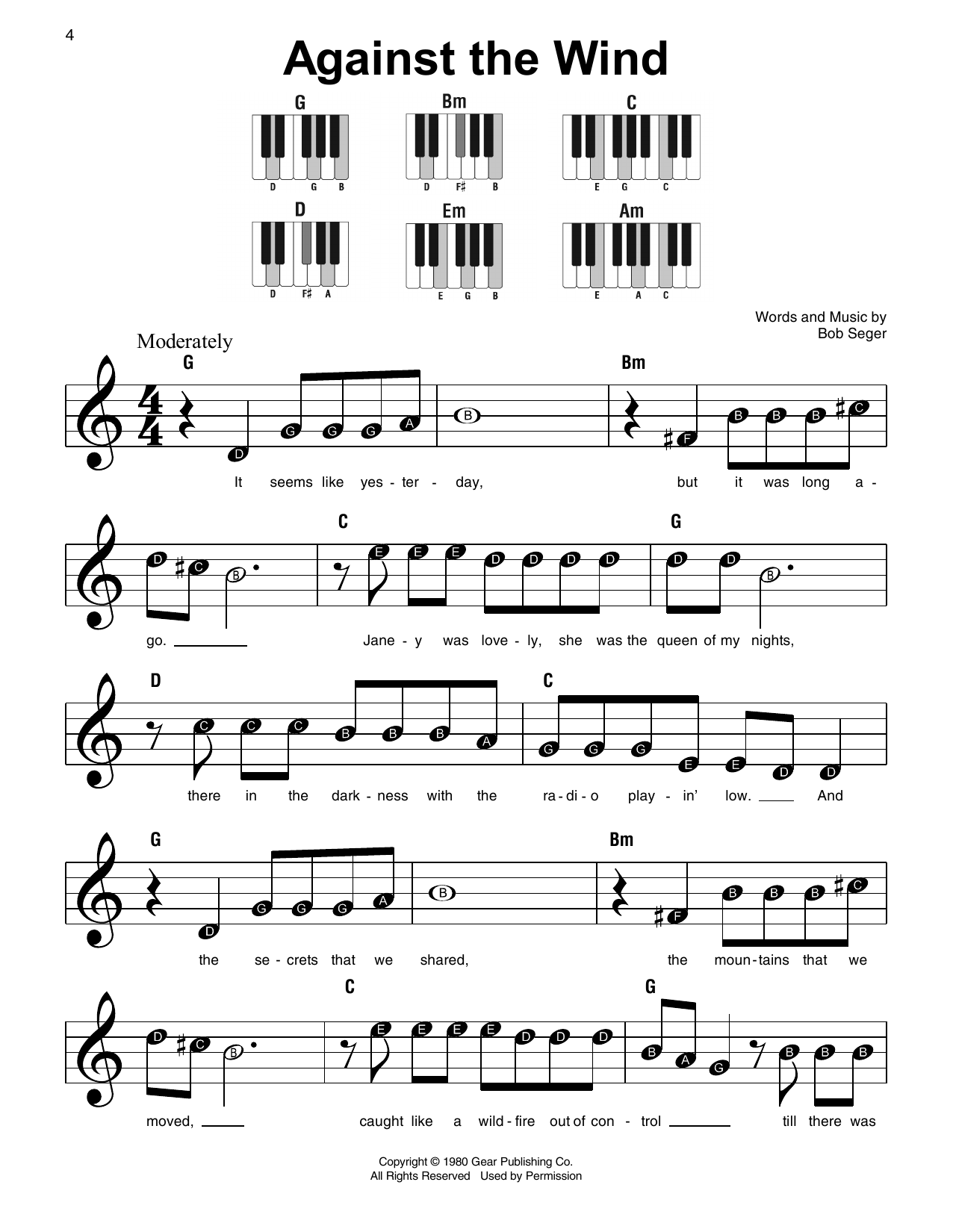 Against The Wind (Super Easy Piano)