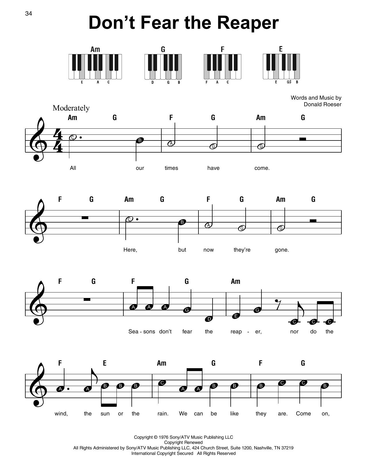 Don't Fear The Reaper (Super Easy Piano)