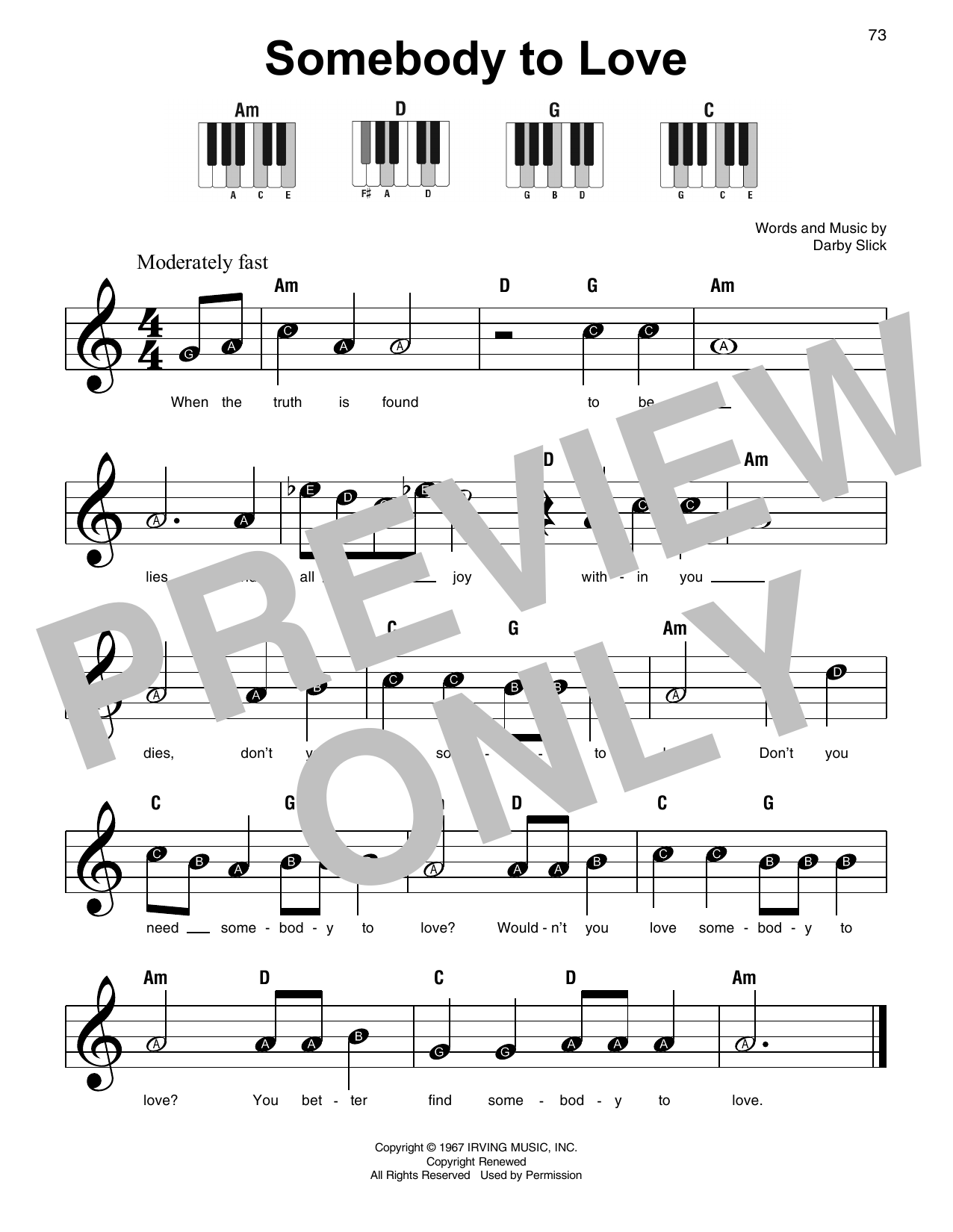 Somebody To Love (Super Easy Piano)