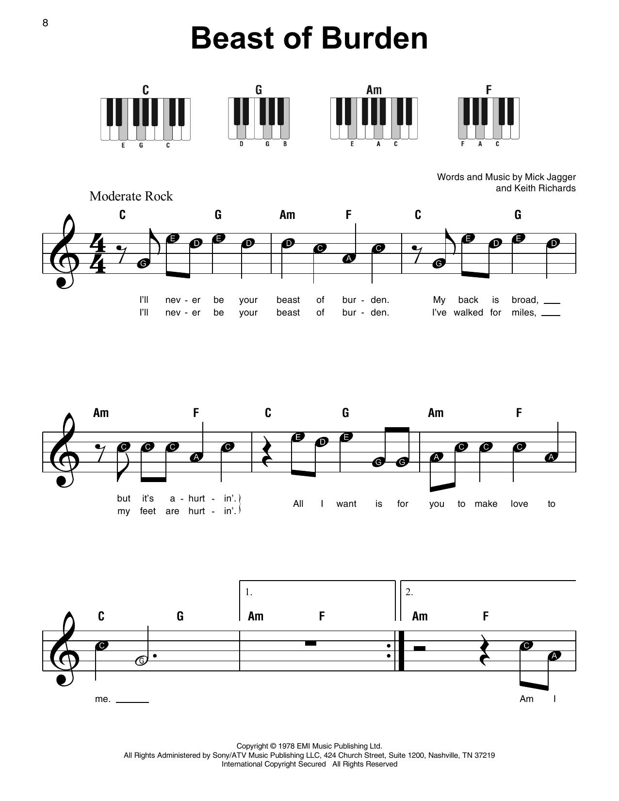 Beast Of Burden (Super Easy Piano)