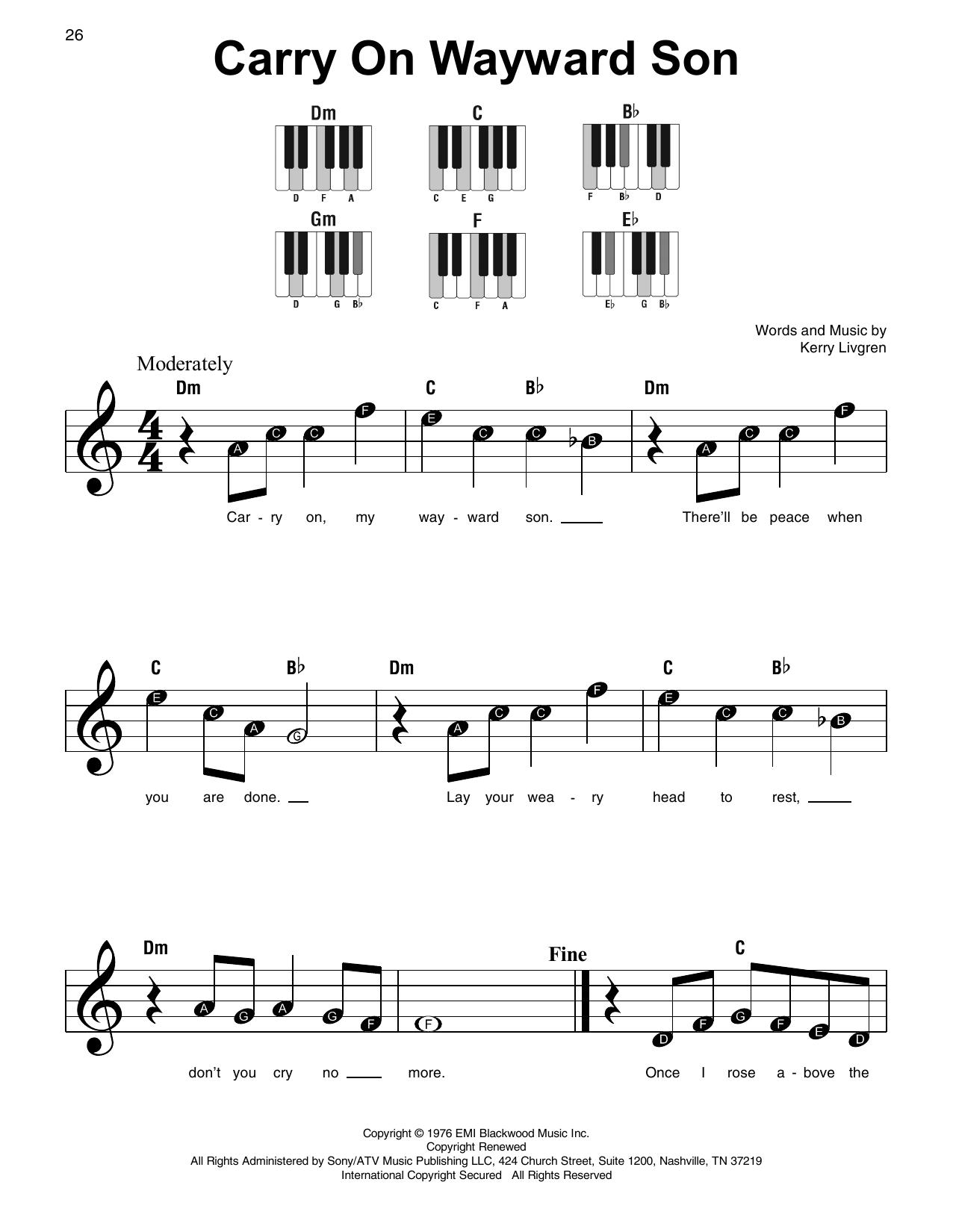 Carry On Wayward Son (Super Easy Piano)
