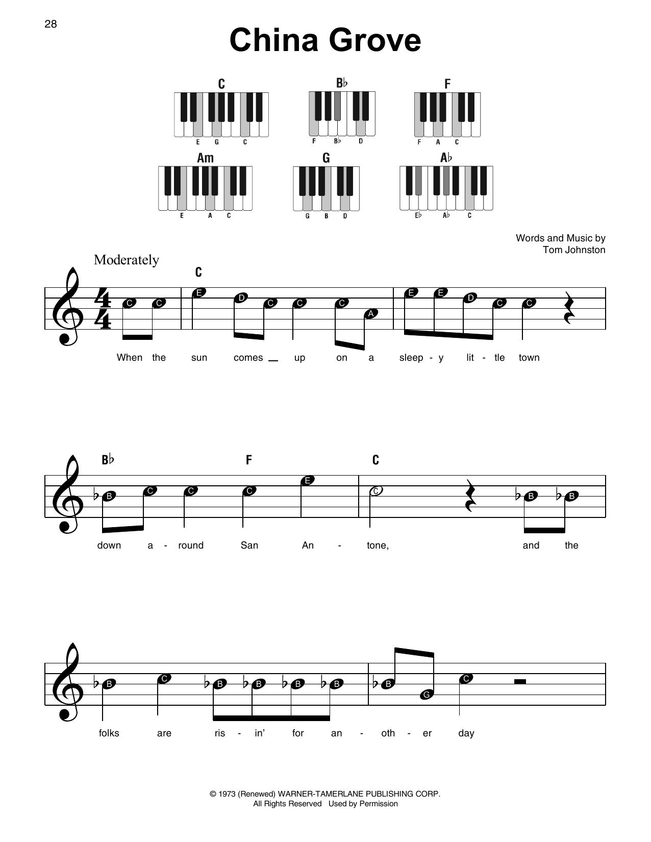 China Grove (Super Easy Piano)
