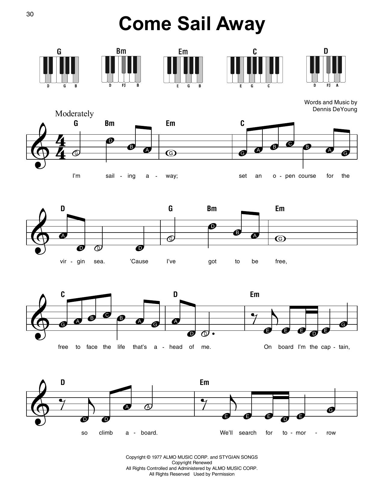 Come Sail Away (Super Easy Piano)