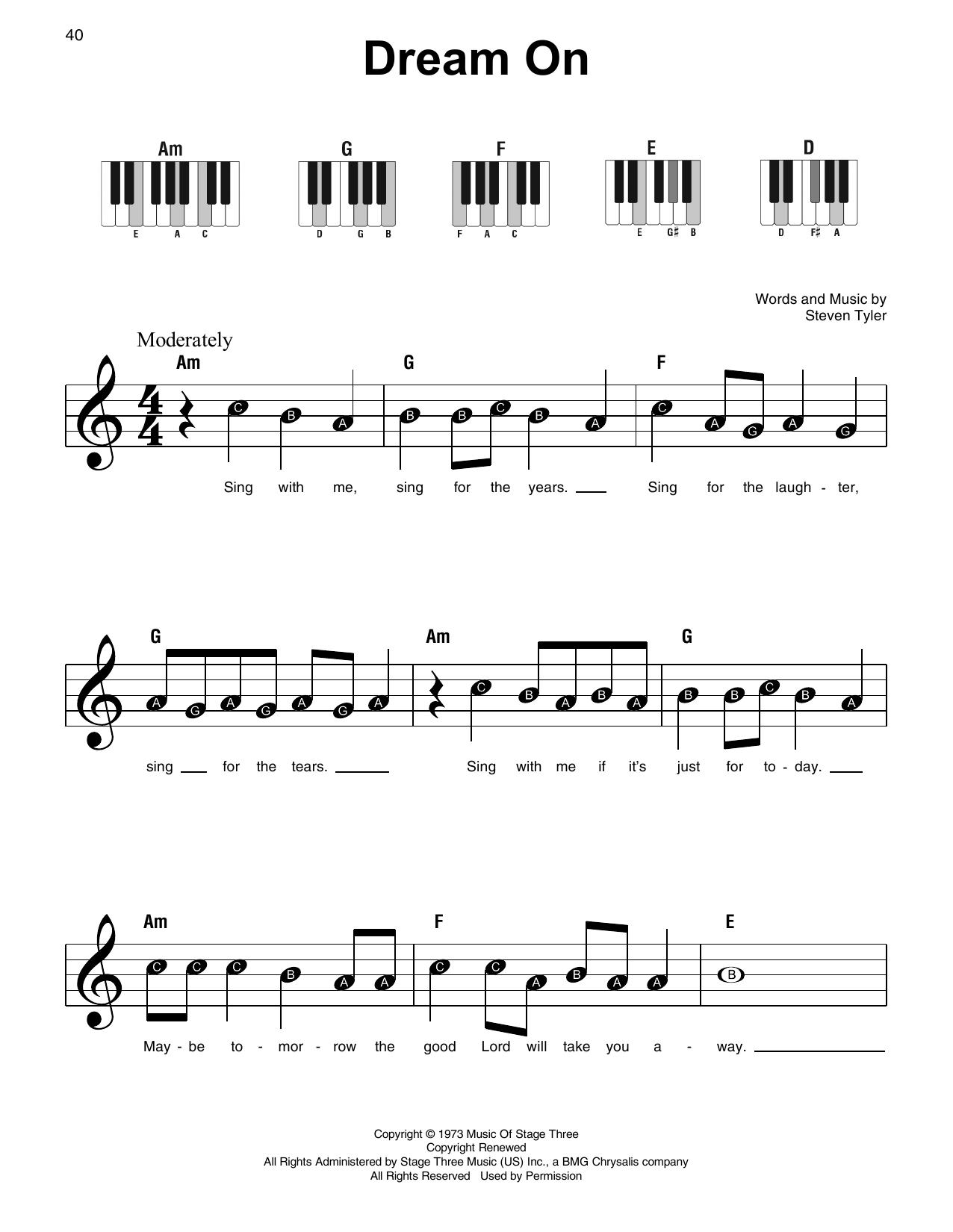 Dream On (Super Easy Piano)