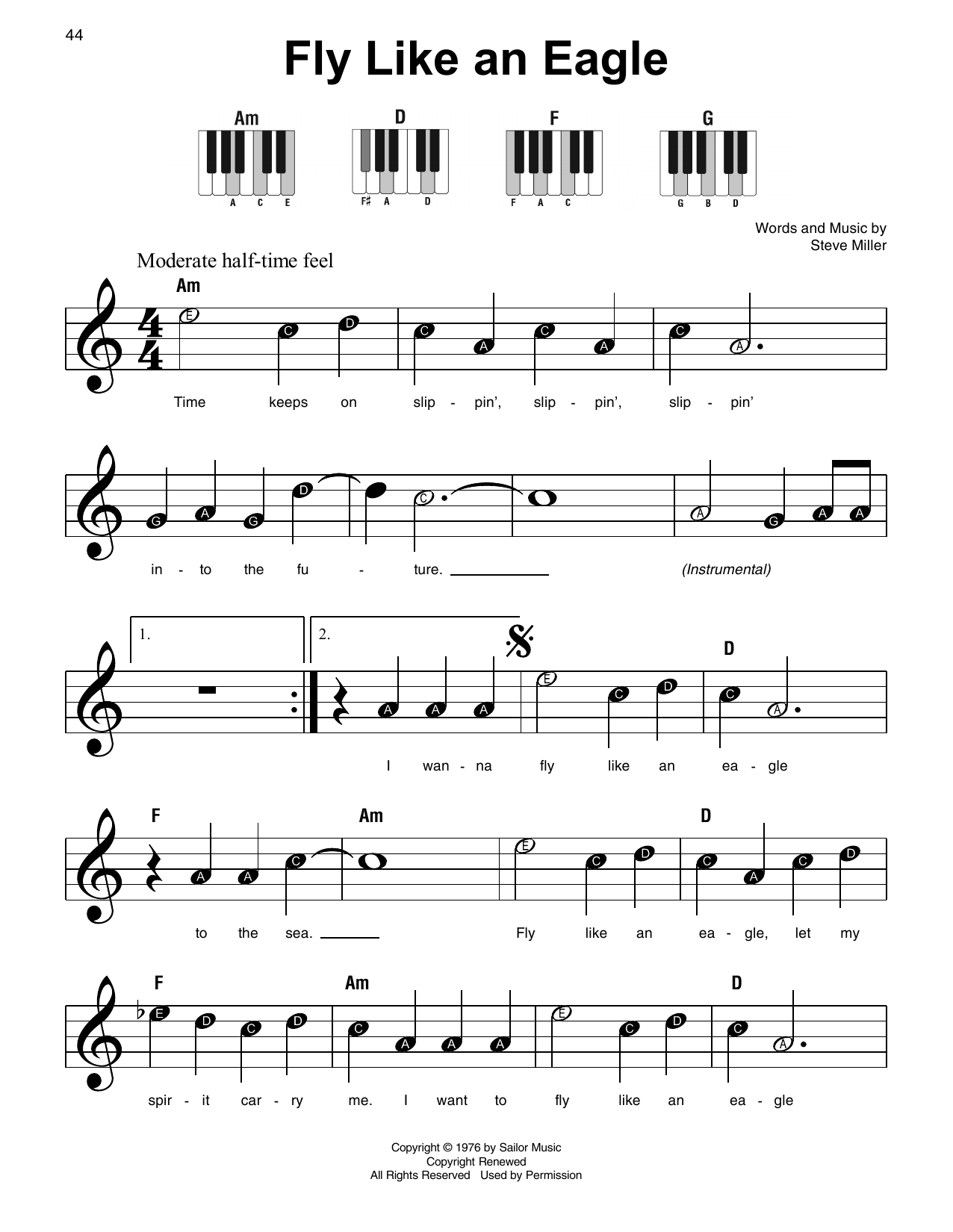 Fly Like An Eagle (Super Easy Piano)