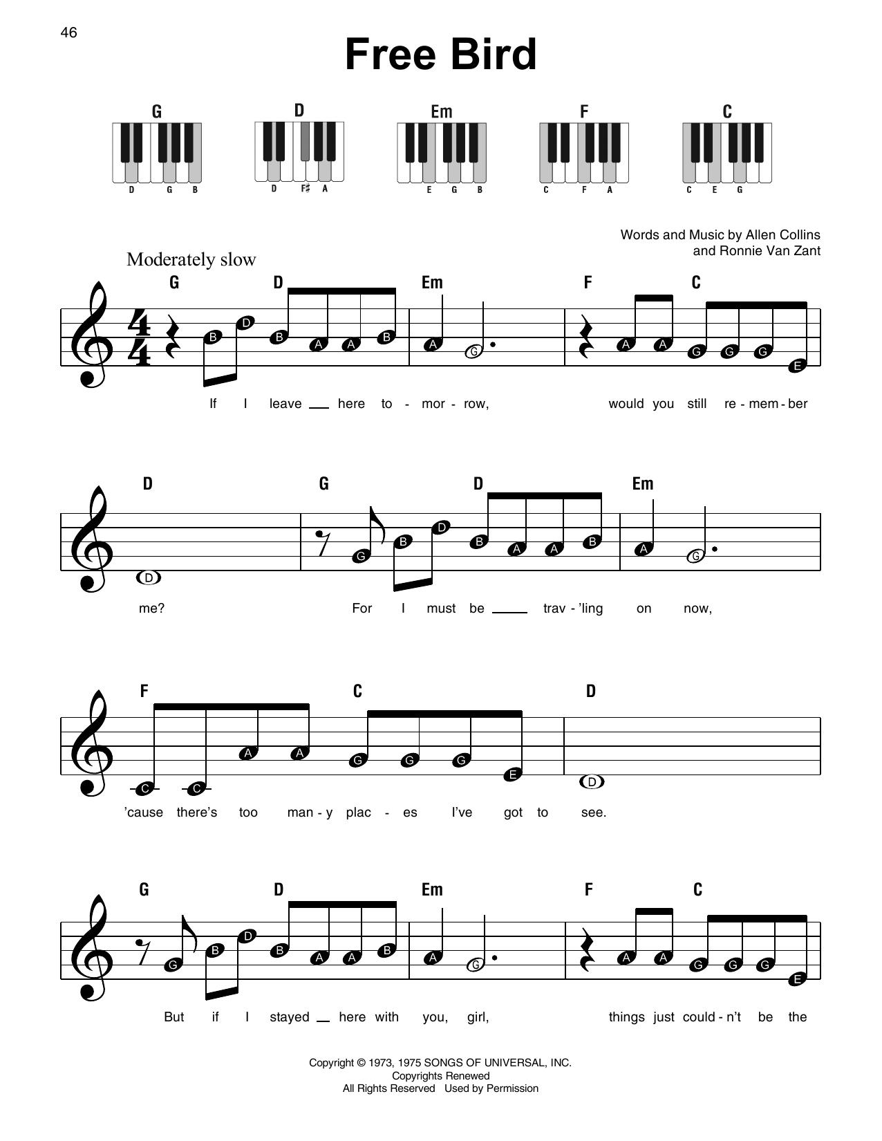 Free Bird (Super Easy Piano)