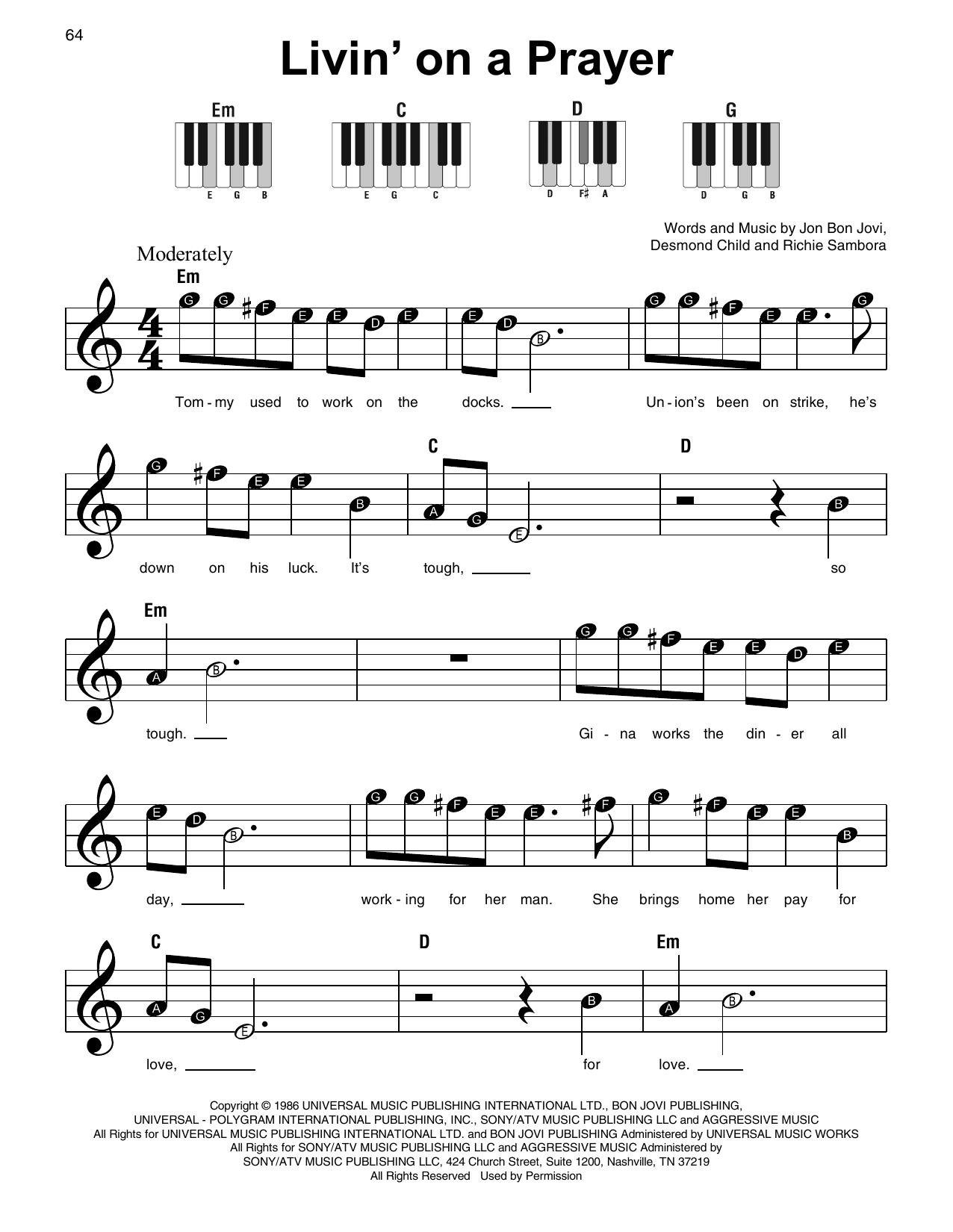 Livin' On A Prayer (Super Easy Piano)