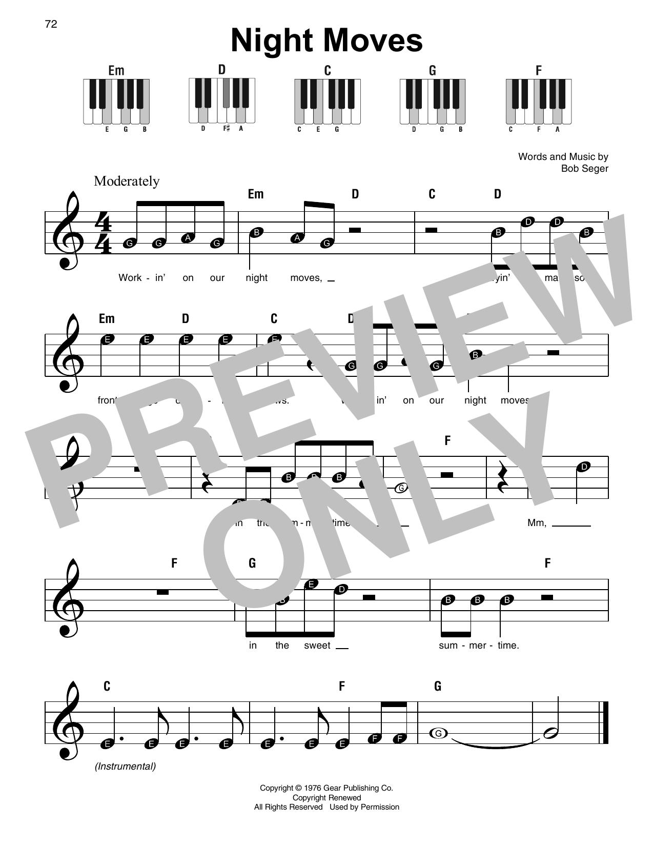 Night Moves (Super Easy Piano)