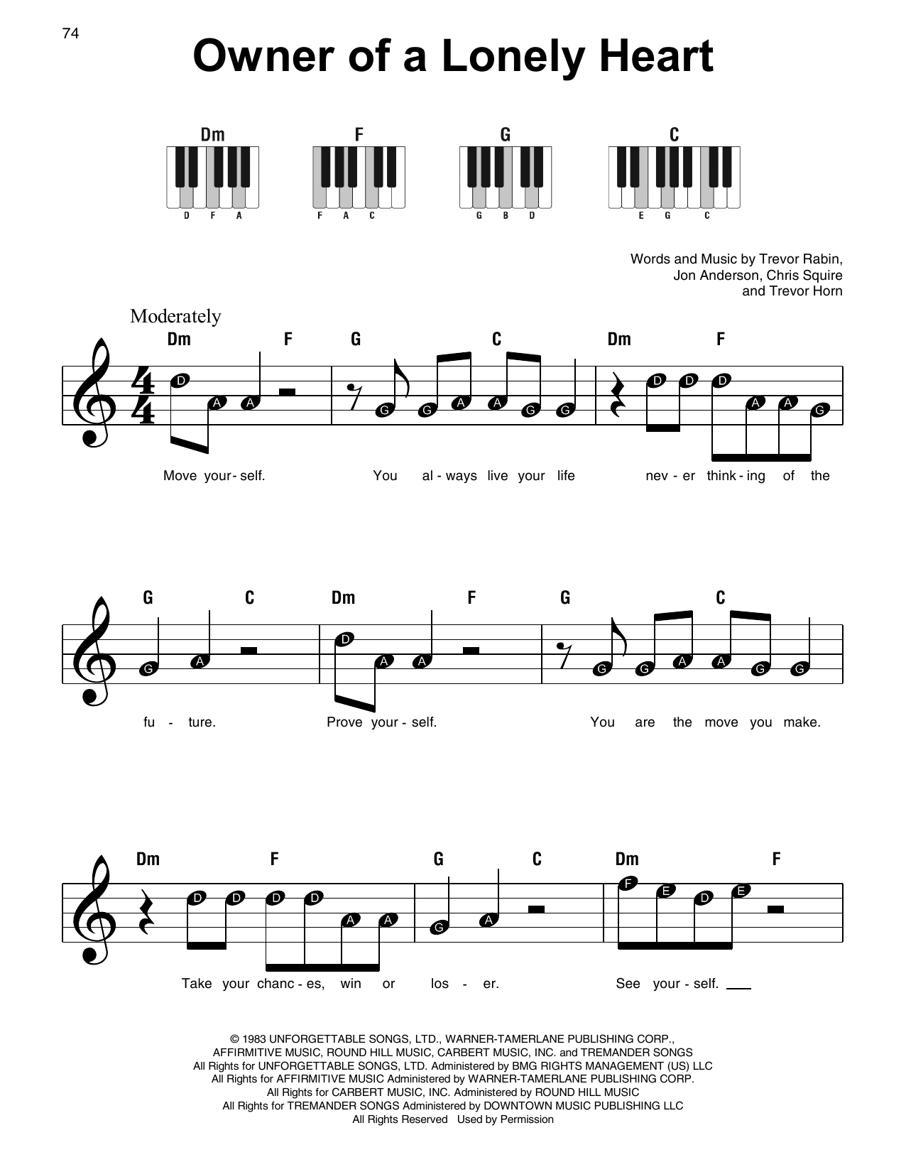 Owner Of A Lonely Heart (Super Easy Piano)
