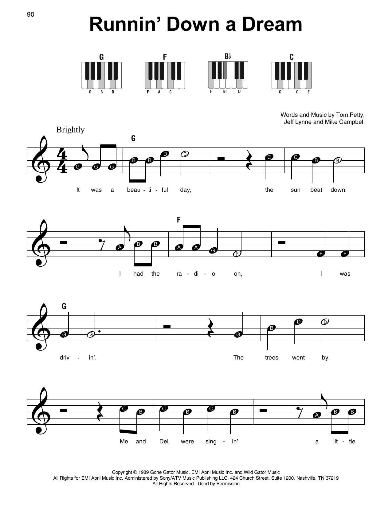 Runnin' Down A Dream (Super Easy Piano)