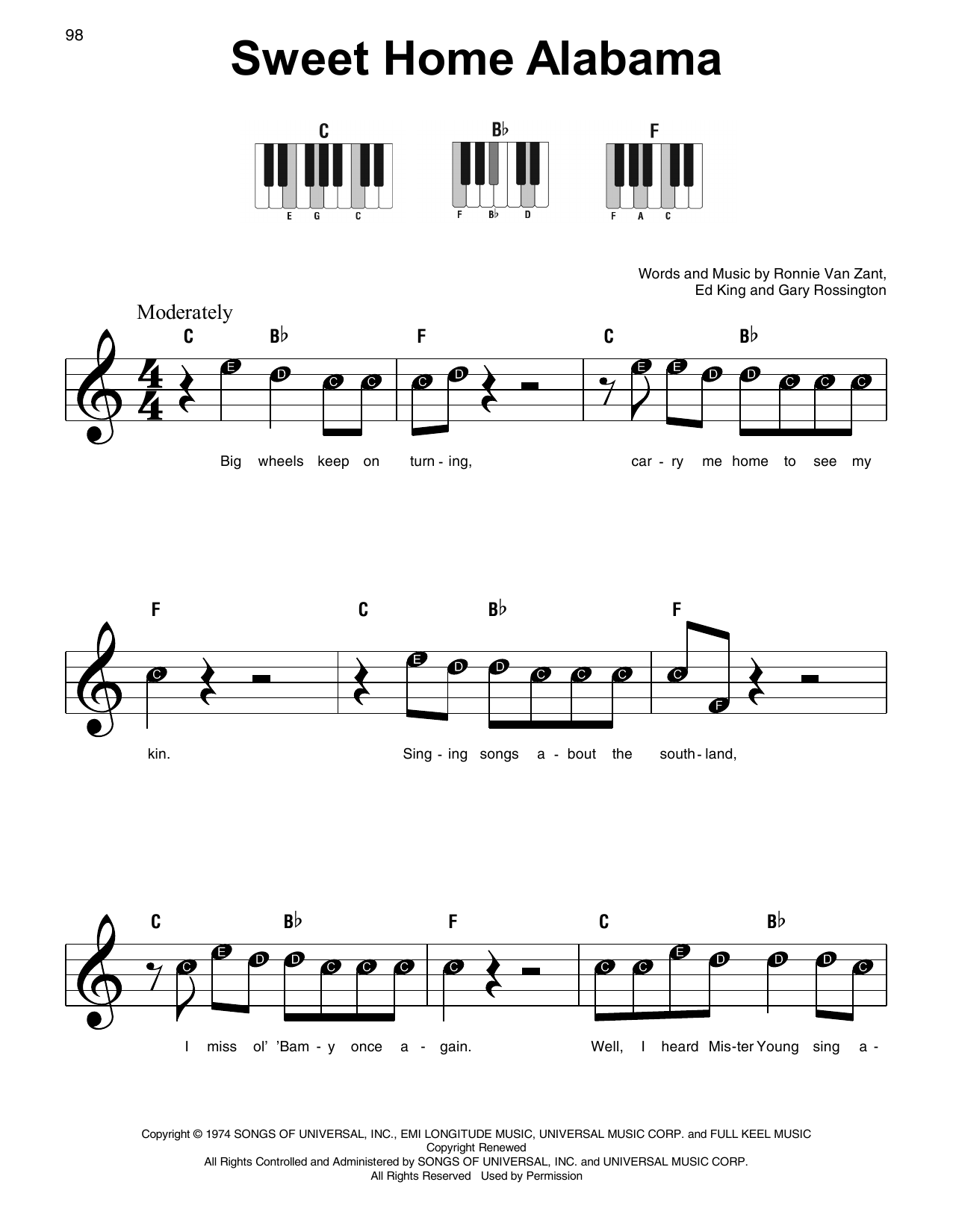 Sweet Home Alabama (Super Easy Piano)