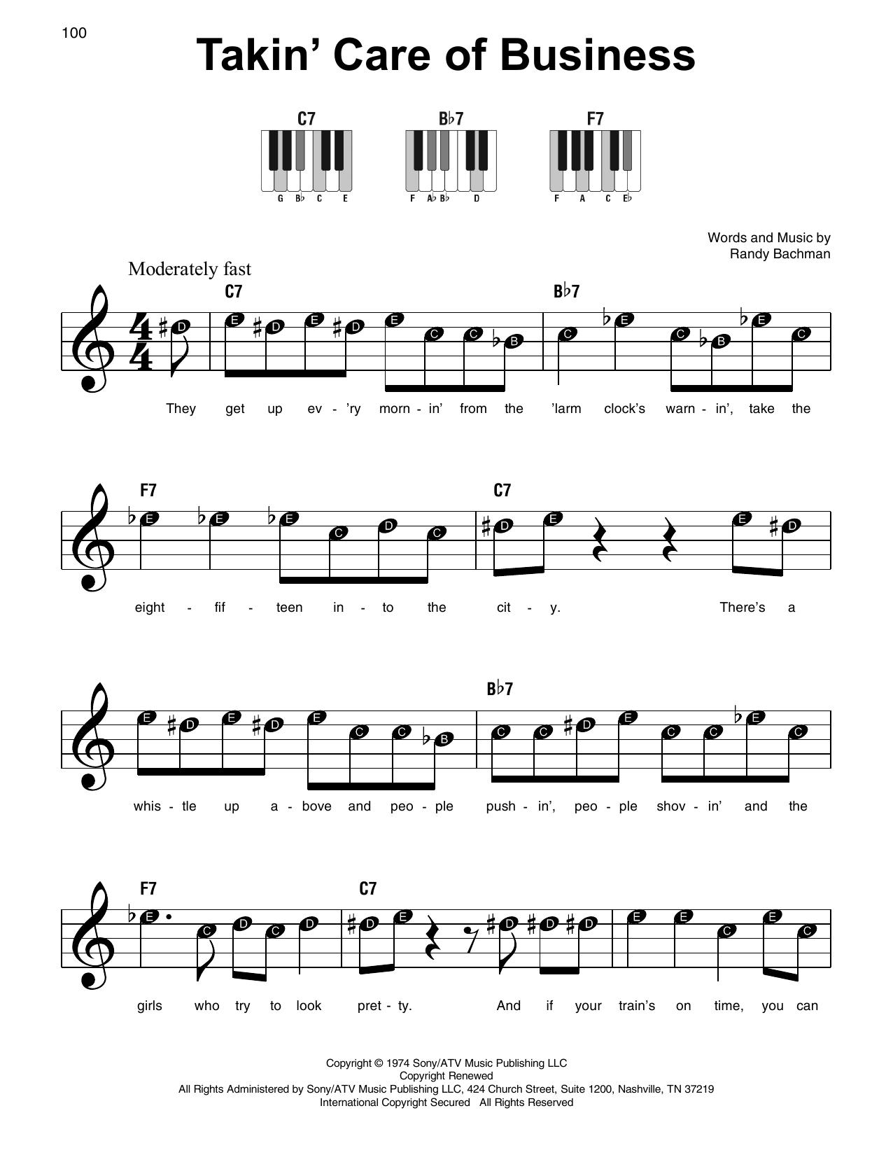Takin' Care Of Business (Super Easy Piano)