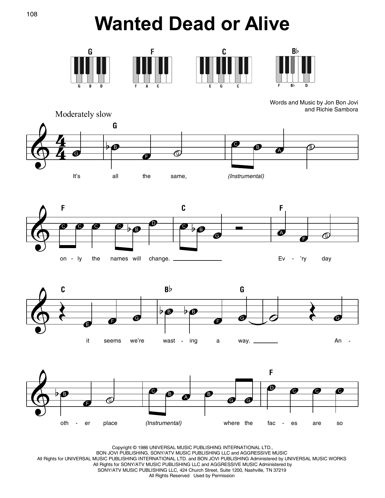 Wanted Dead Or Alive (Super Easy Piano)