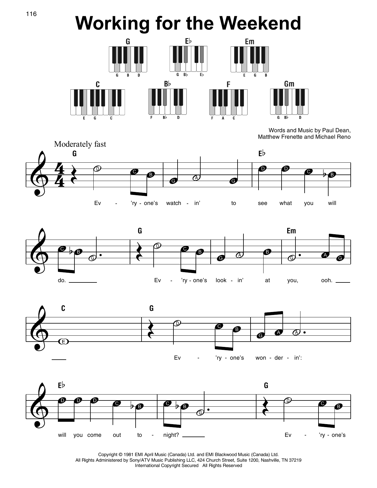 Working For The Weekend (Super Easy Piano)