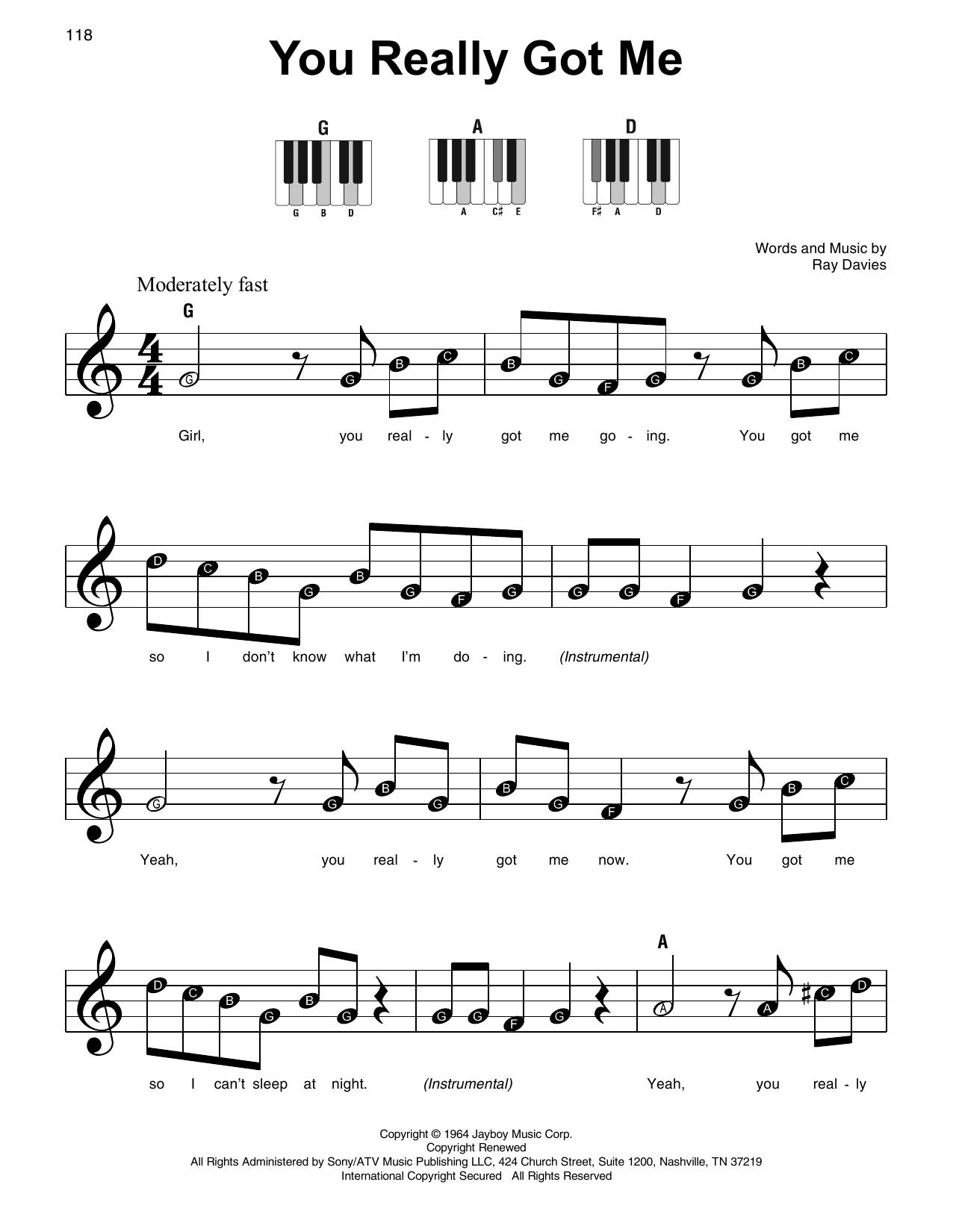 You Really Got Me (Super Easy Piano)