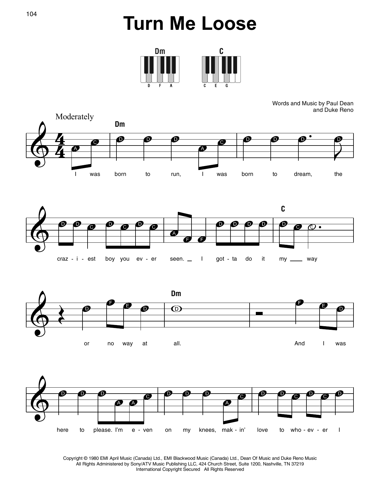 Turn Me Loose (Super Easy Piano)