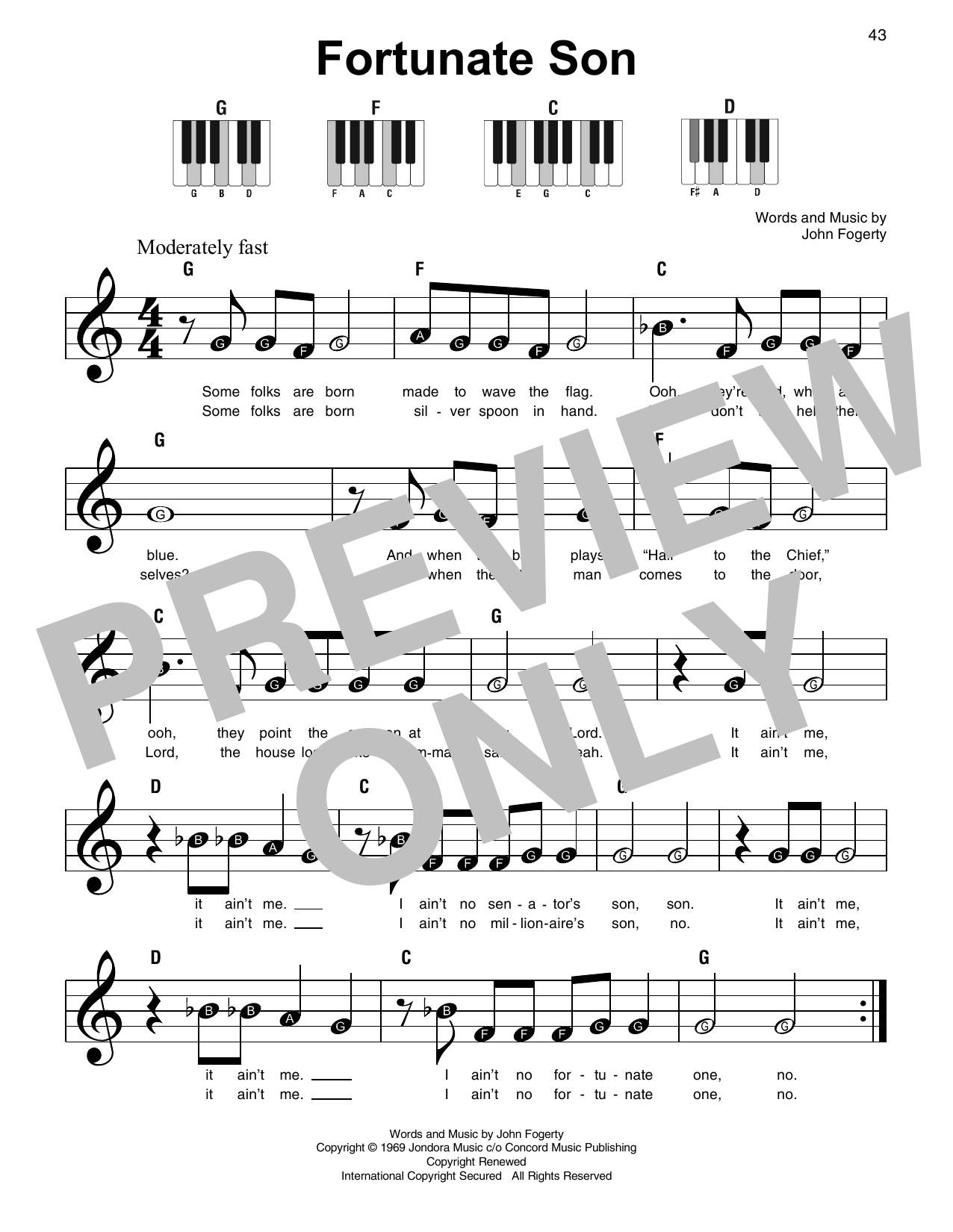Fortunate Son (Super Easy Piano)