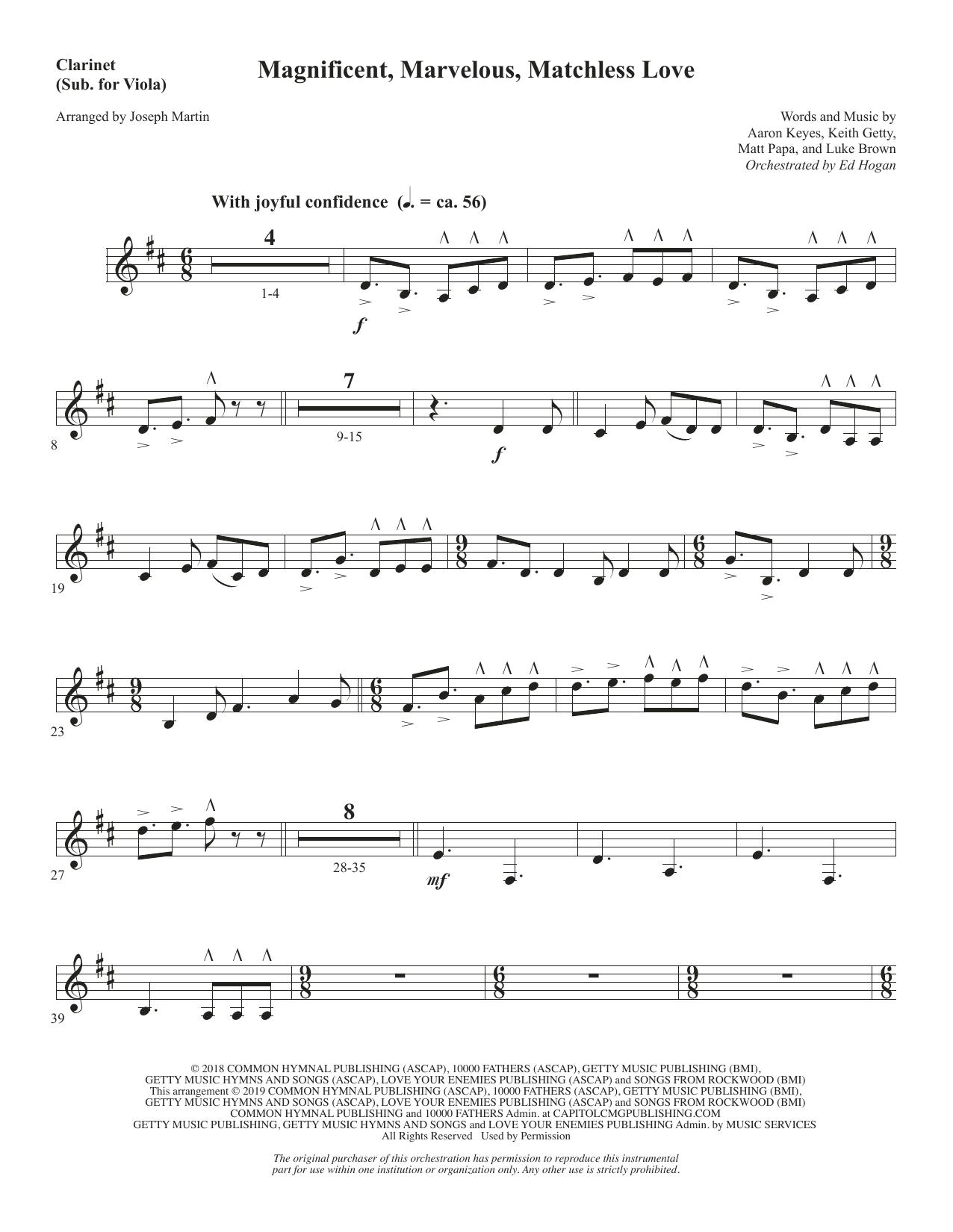 Magnificent, Marvelous, Matchless Love (arr. Joseph M. Martin) - Clarinet (sub. Viola) (Choir Instrumental Pak)