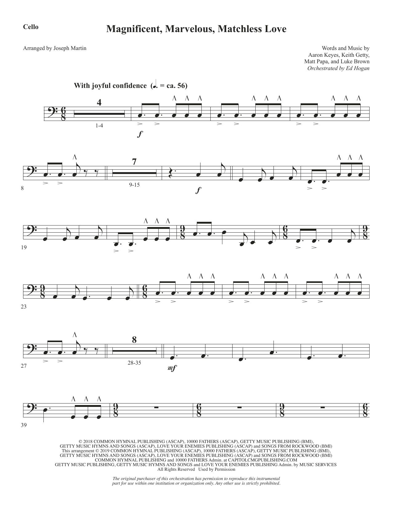 Magnificent, Marvelous, Matchless Love (arr. Joseph M. Martin) - Cello (Choir Instrumental Pak)