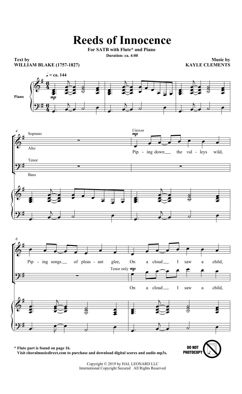 Reeds Of Innocence (SATB Choir)
