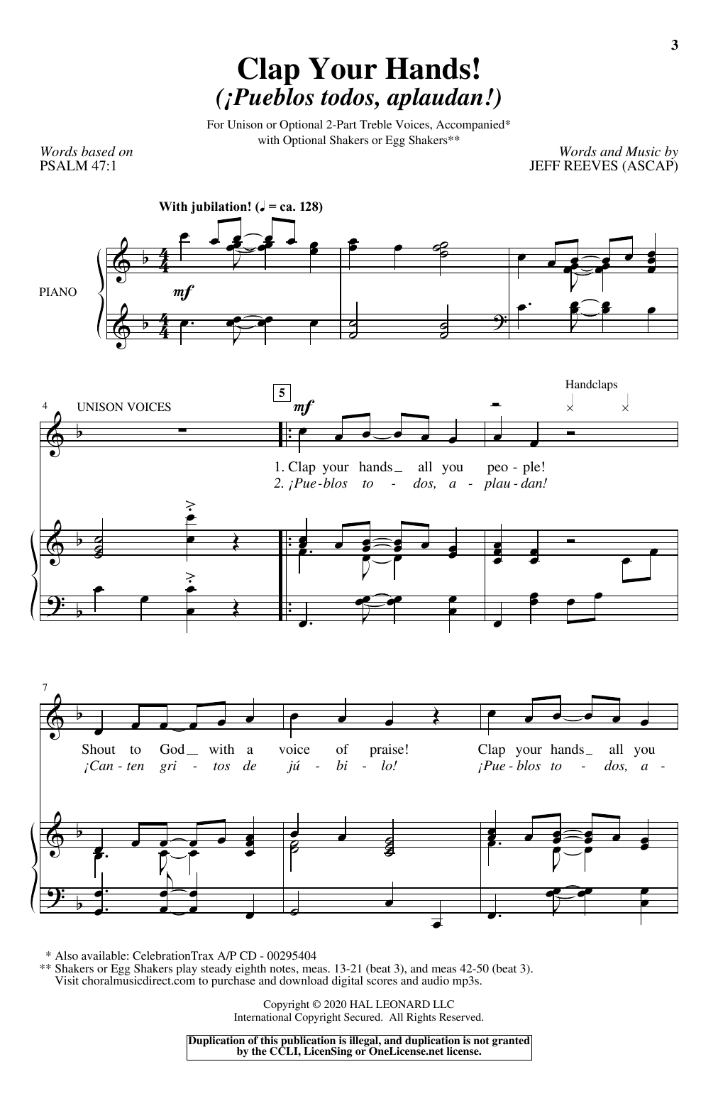 Clap Your Hands! (Pueblo todos, aplaudan!) (Unison Choir)