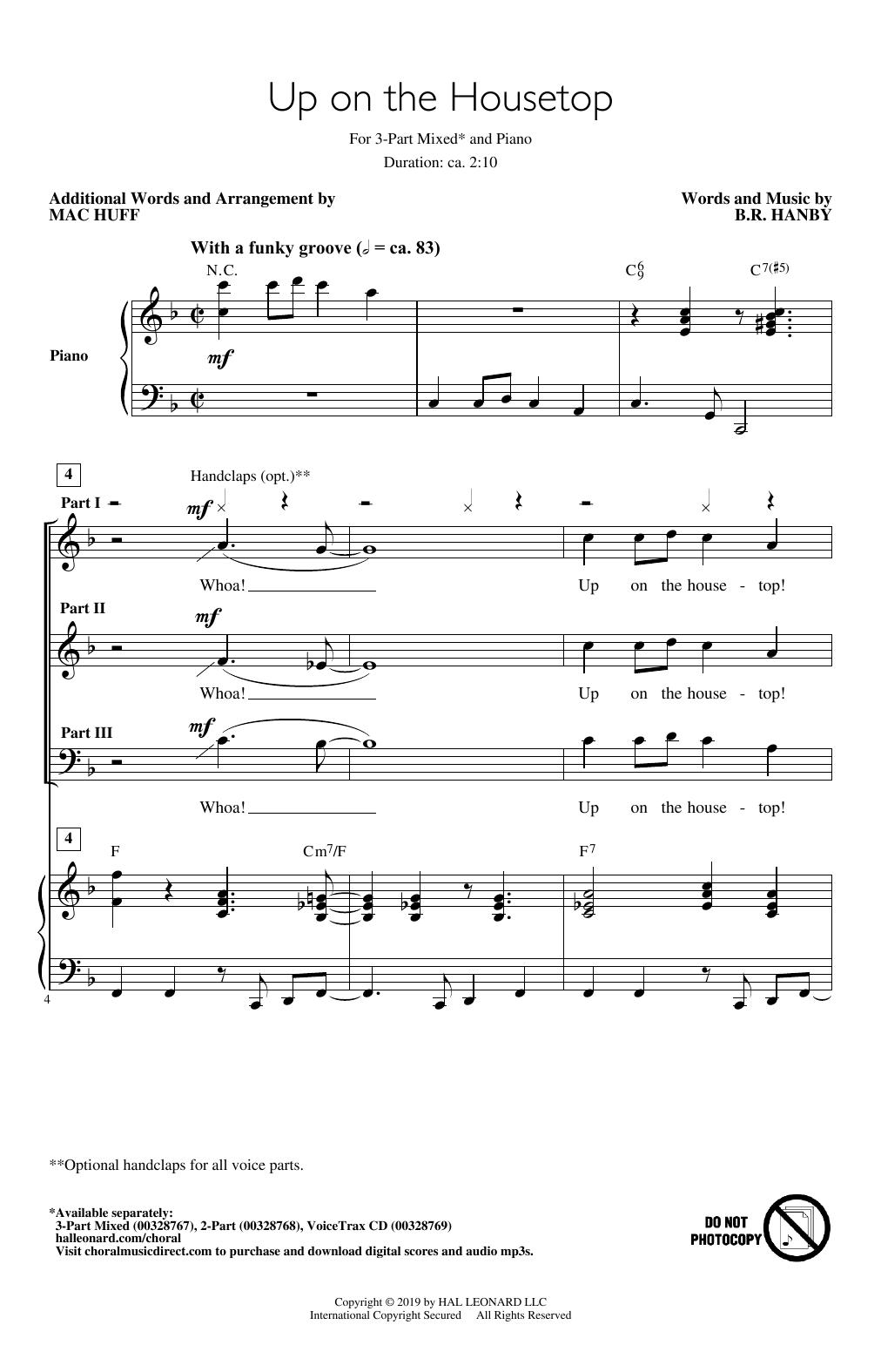 Up On The Housetop (arr. Mac Huff) (3-Part Mixed Choir)