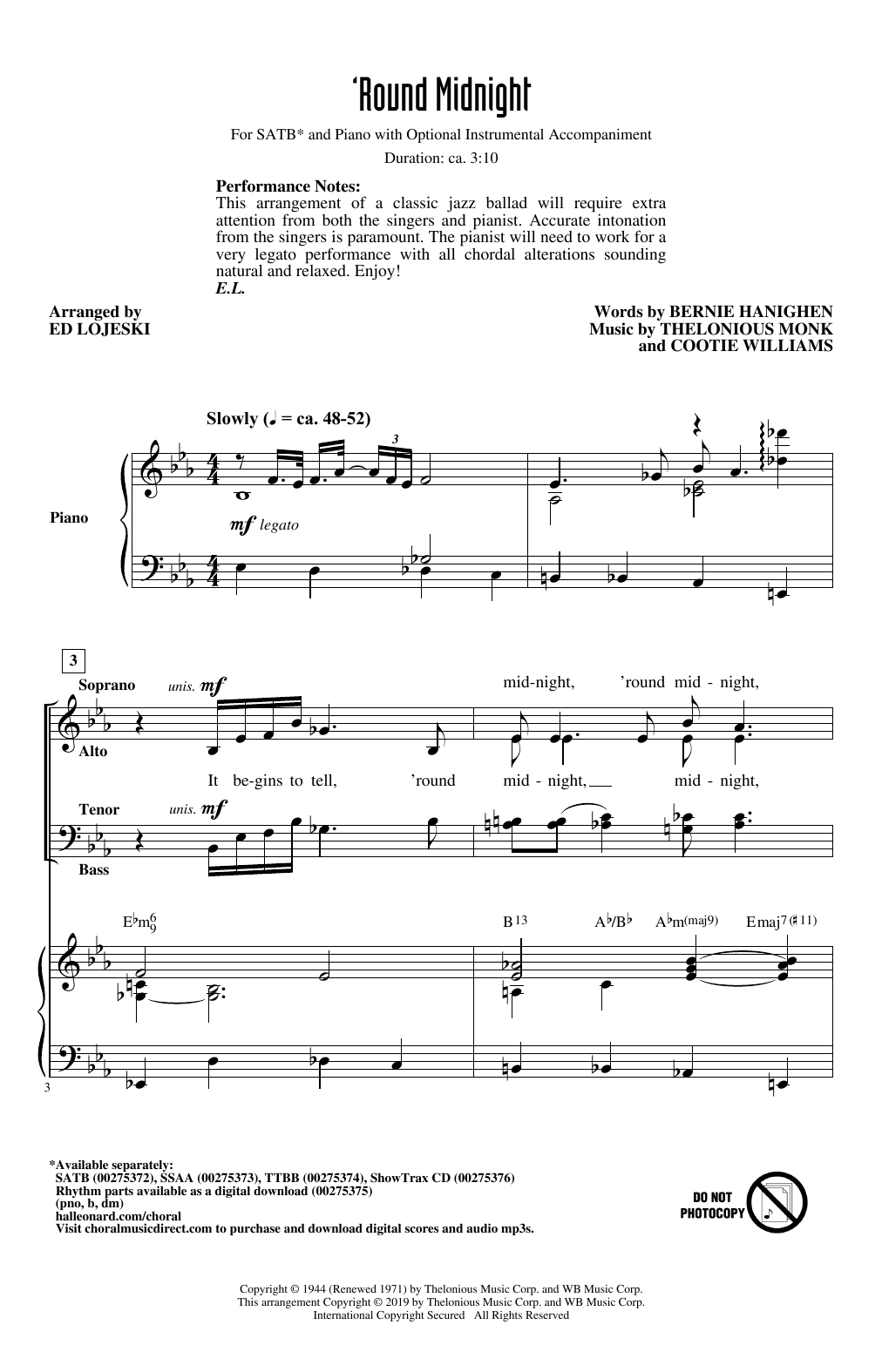 'Round Midnight (arr. Ed Lojeski) (SATB Choir)