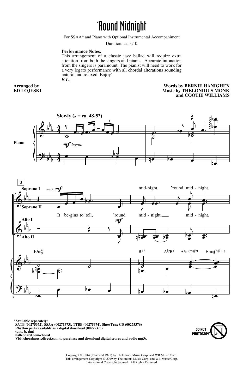 'Round Midnight (arr. Ed Lojeski) (SSA Choir)