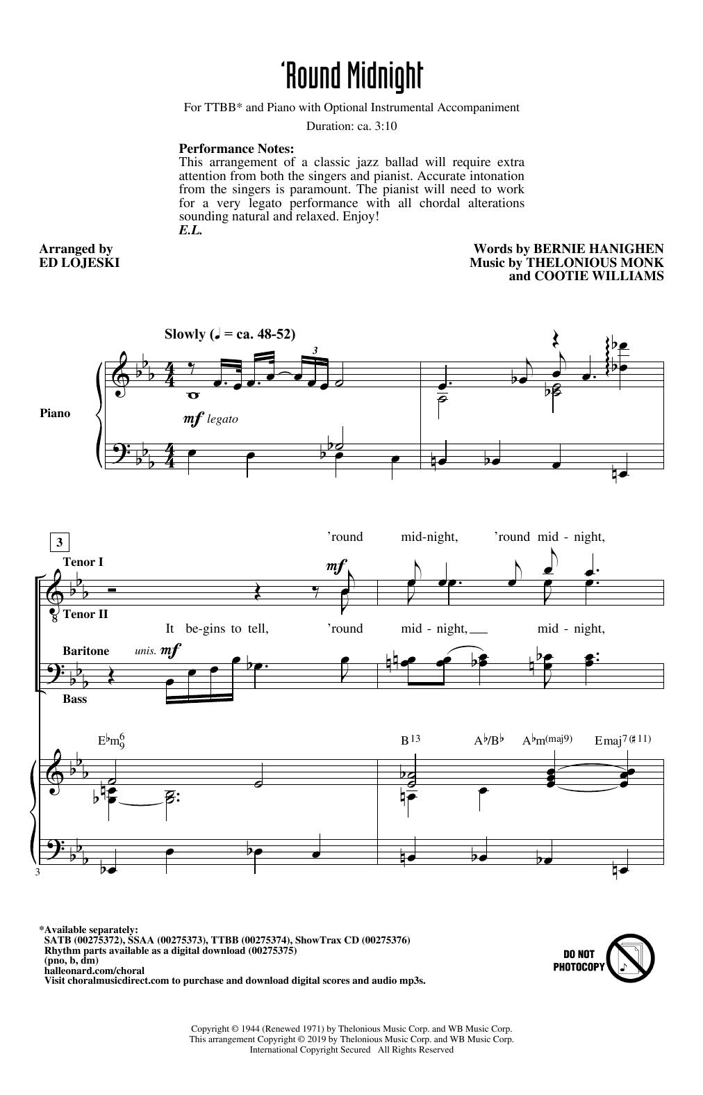 'Round Midnight (arr. Ed Lojeski) (TTBB Choir)