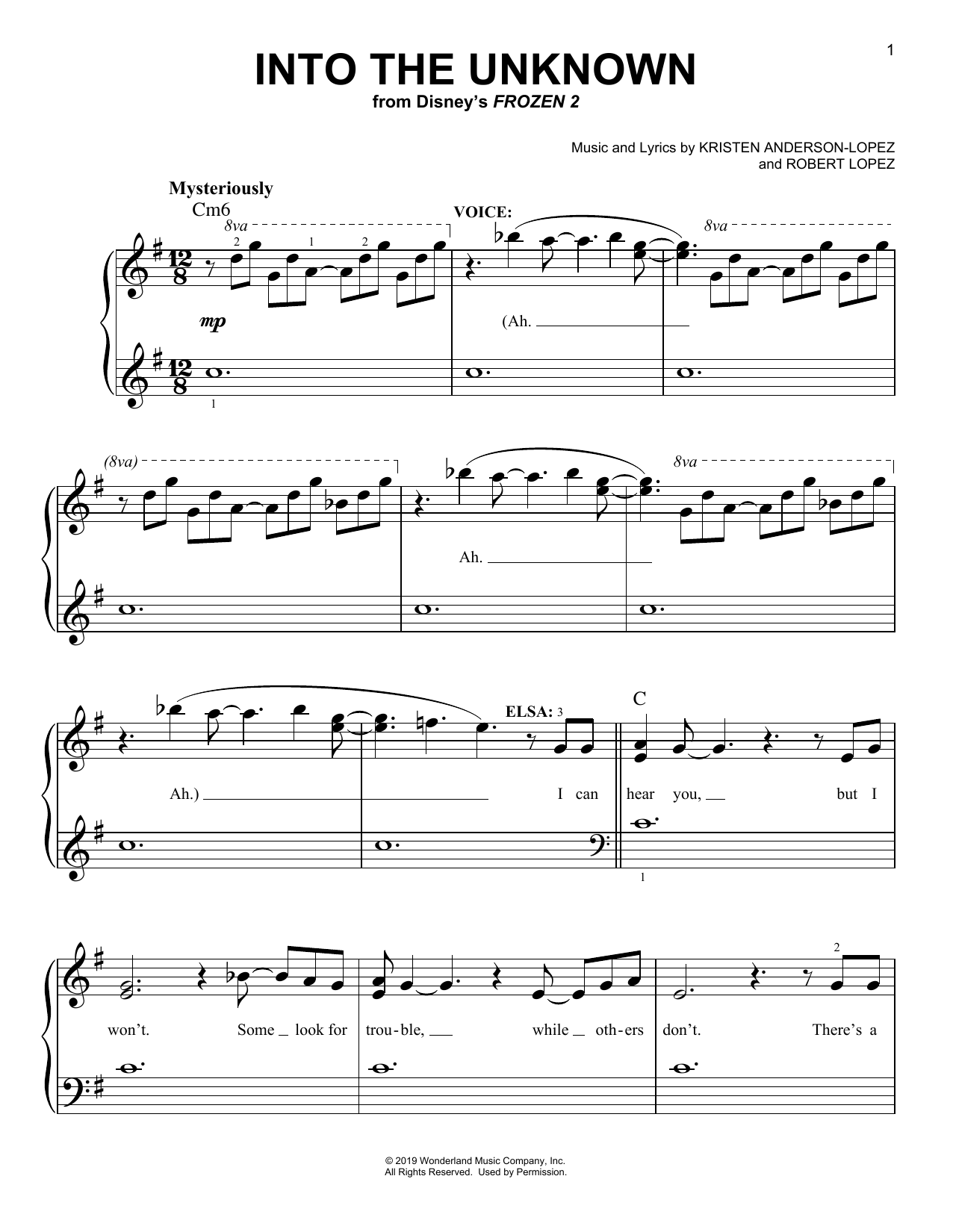 Into The Unknown (from Disney's Frozen 2) (Easy Piano)