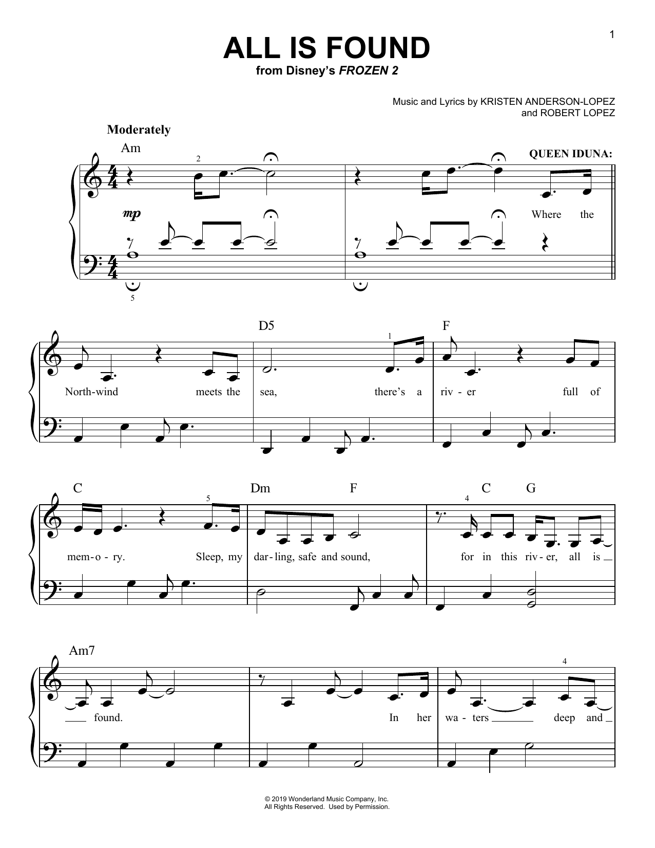 All Is Found (from Disney's Frozen 2) (Easy Piano)