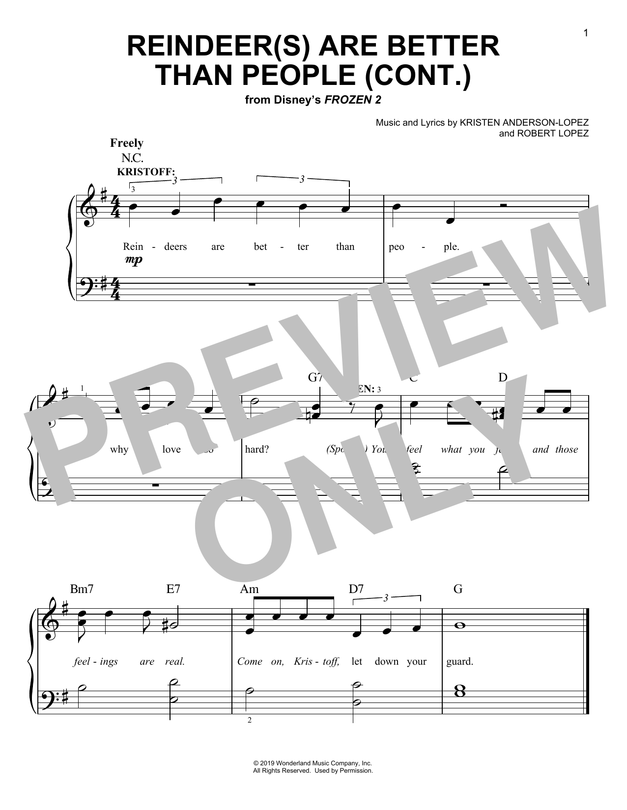 Reindeer(s) Are Better Than People (Cont.) (from Disney's Frozen 2) (Easy Piano)