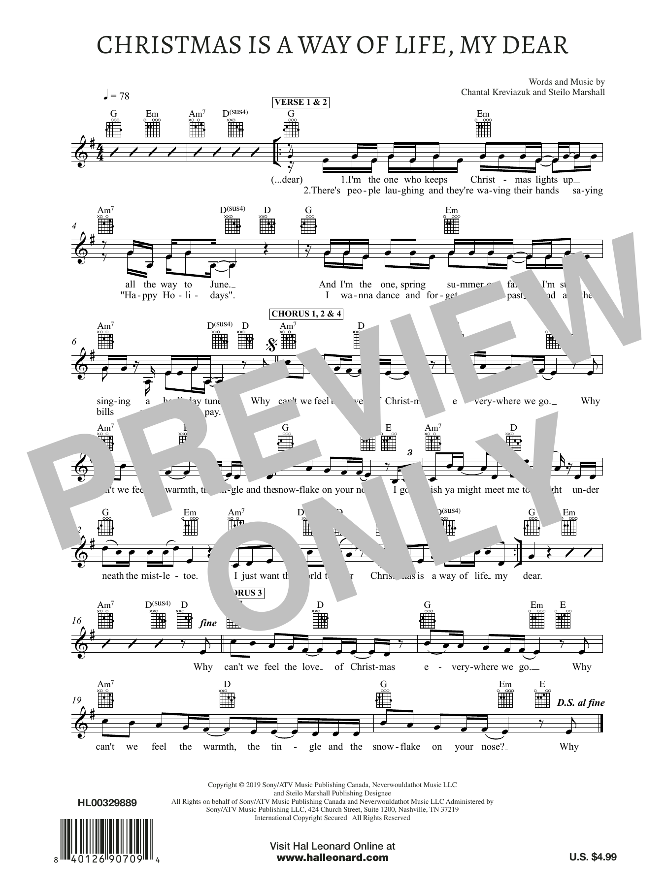 Christmas Is A Way of Life, My Dear (Lead Sheet / Fake Book)