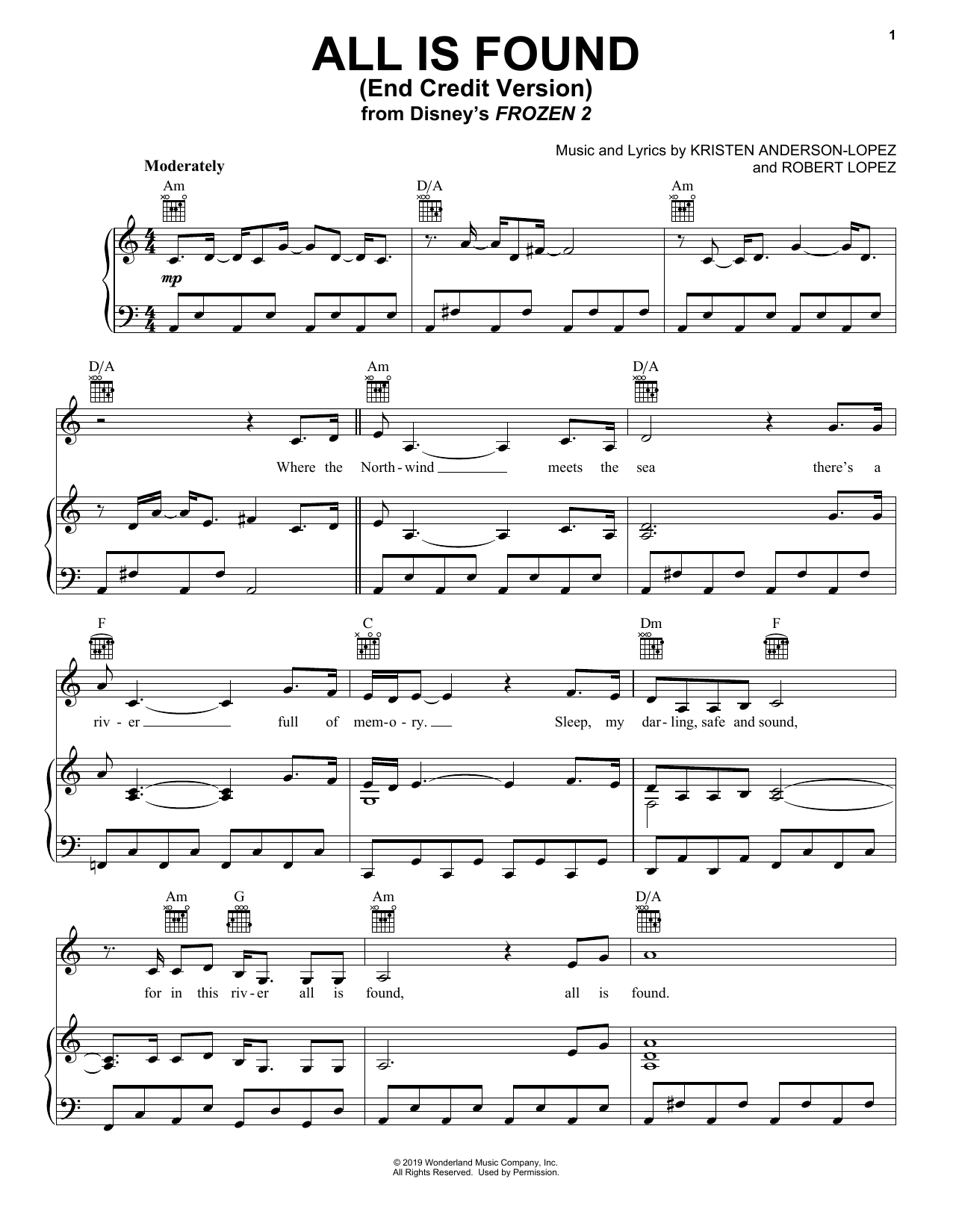 All Is Found (from Disney's Frozen 2) (End Credit Version) (Piano, Vocal & Guitar (Right-Hand Melody))