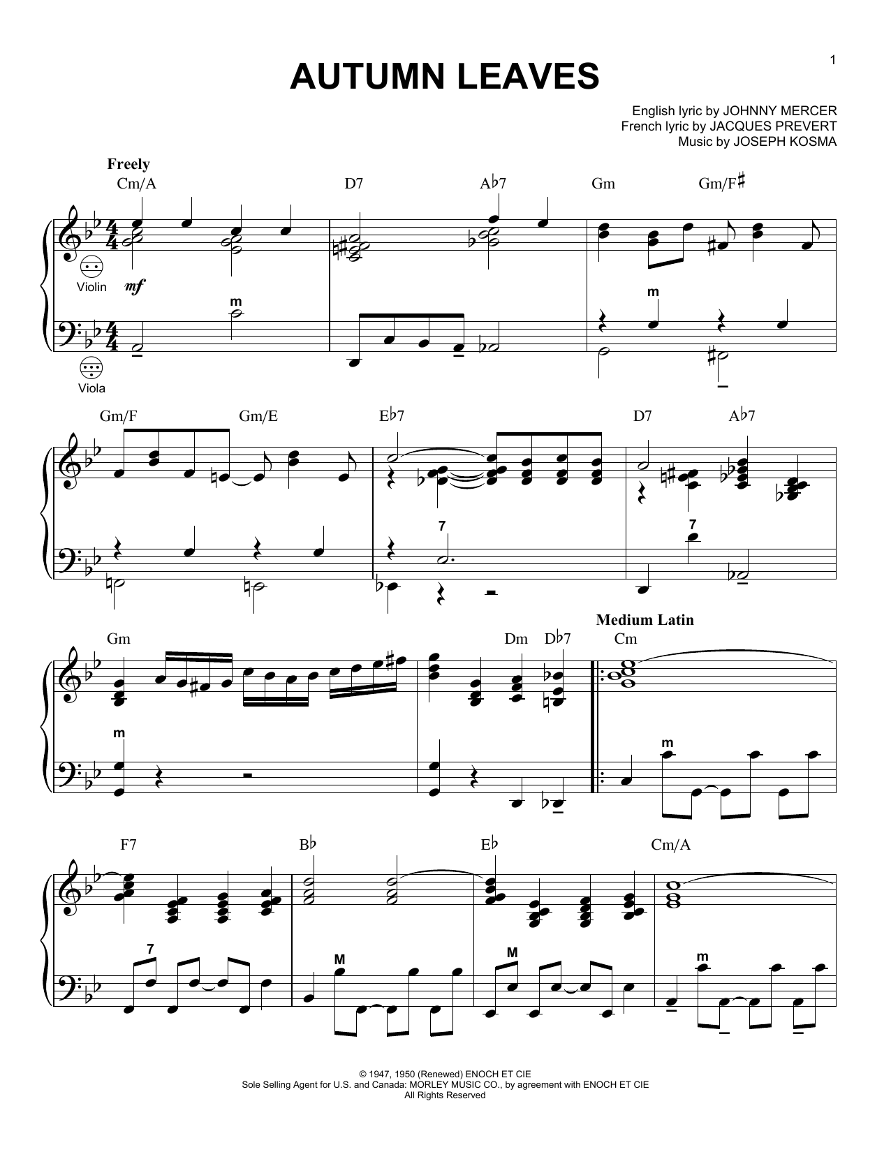 Autumn Leaves (arr. Gary Meisner) (Accordion)