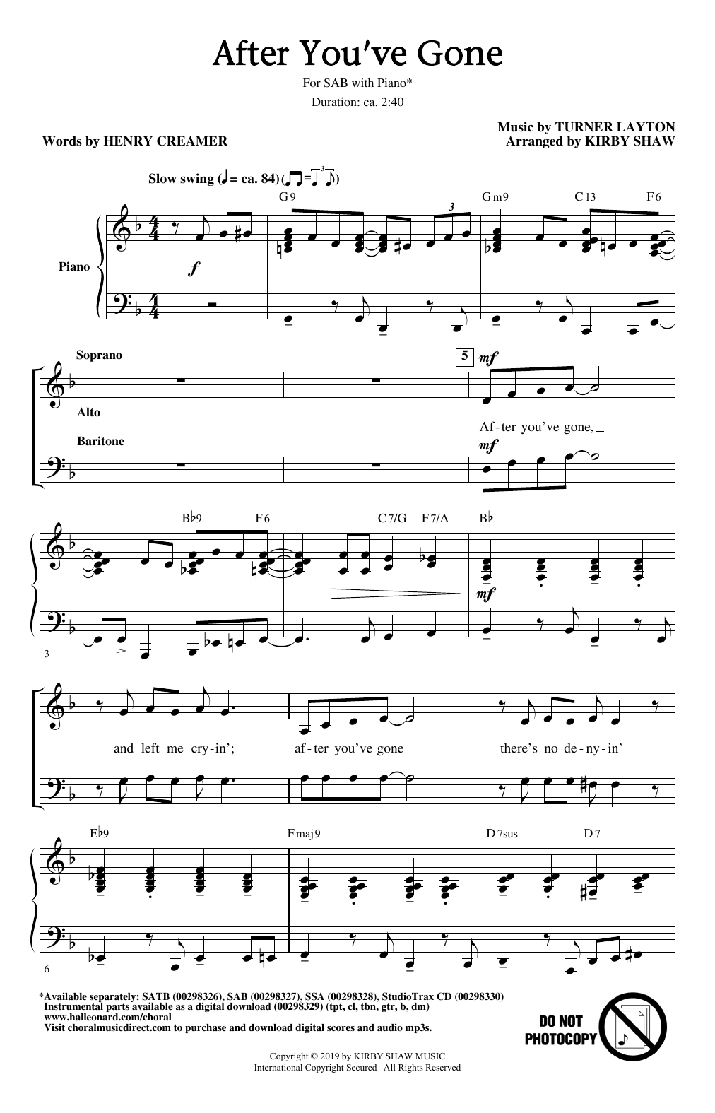 After You've Gone (from One Mo' Time) (arr. Kirby Shaw) (SAB Choir)