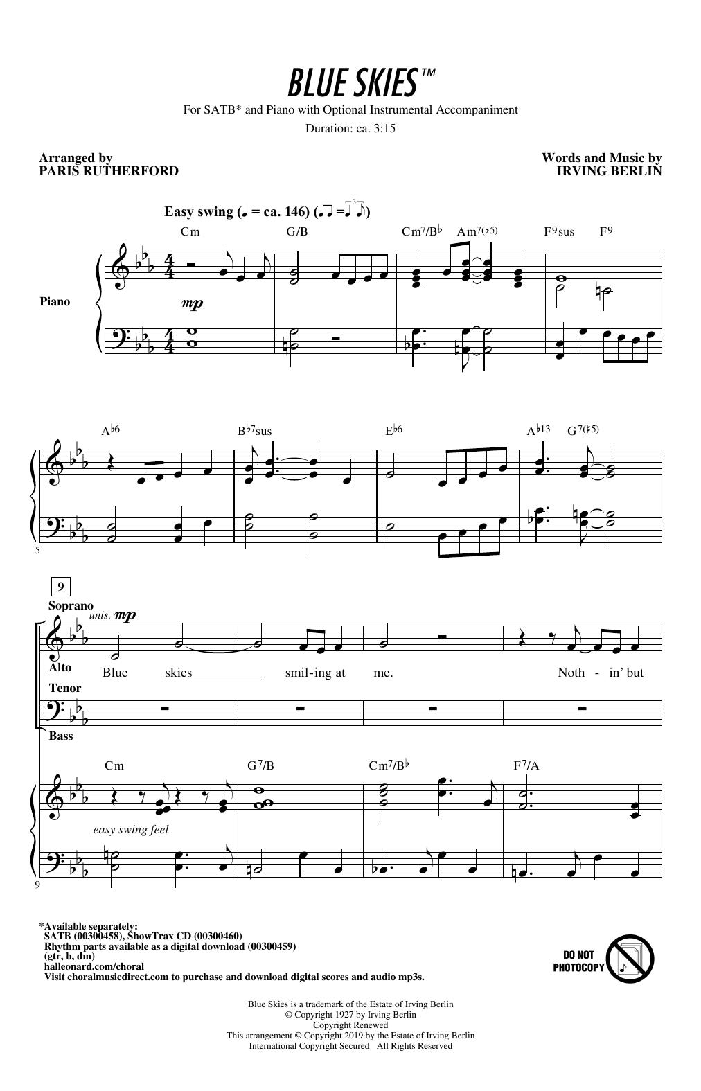 Blue Skies (arr. Paris Rutherford) (SATB Choir)