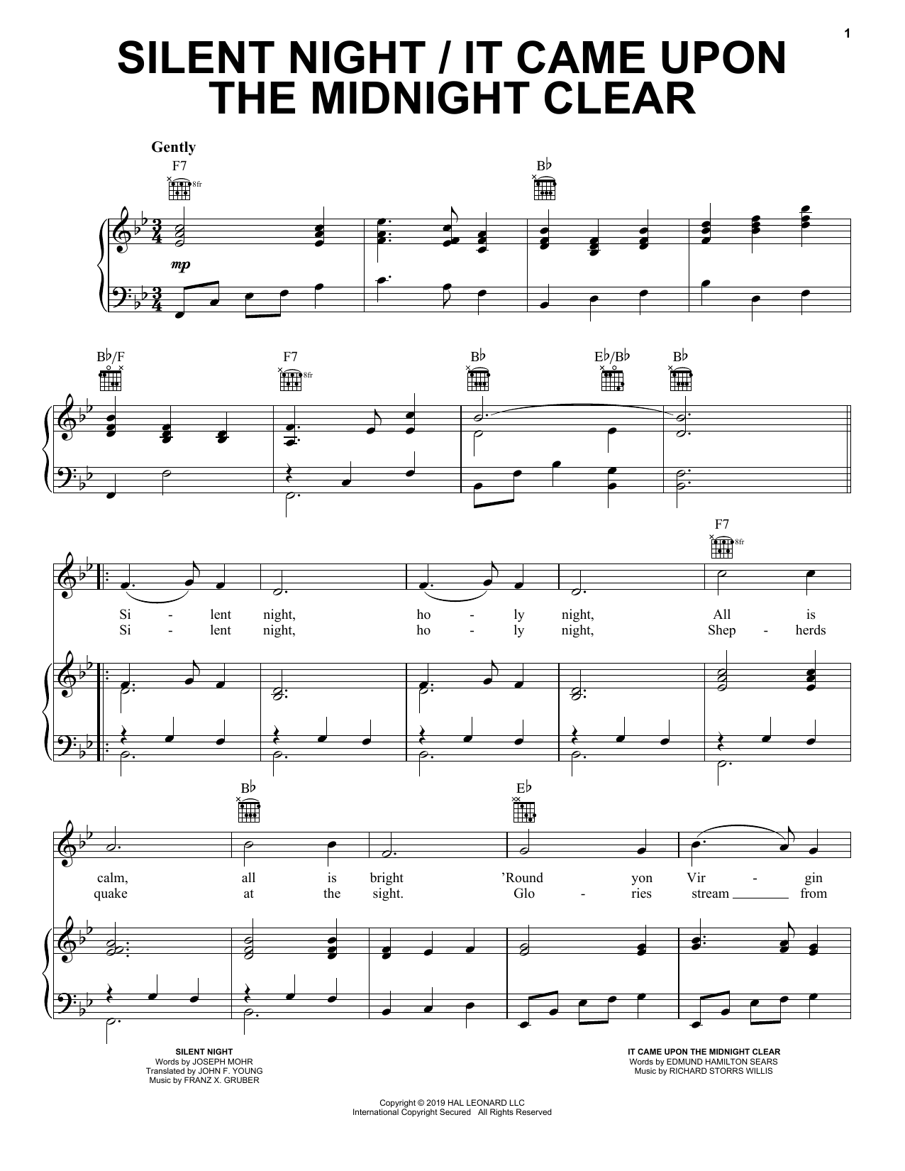 Silent Night / It Came Upon the Midnight Clear (Piano, Vocal & Guitar (Right-Hand Melody))